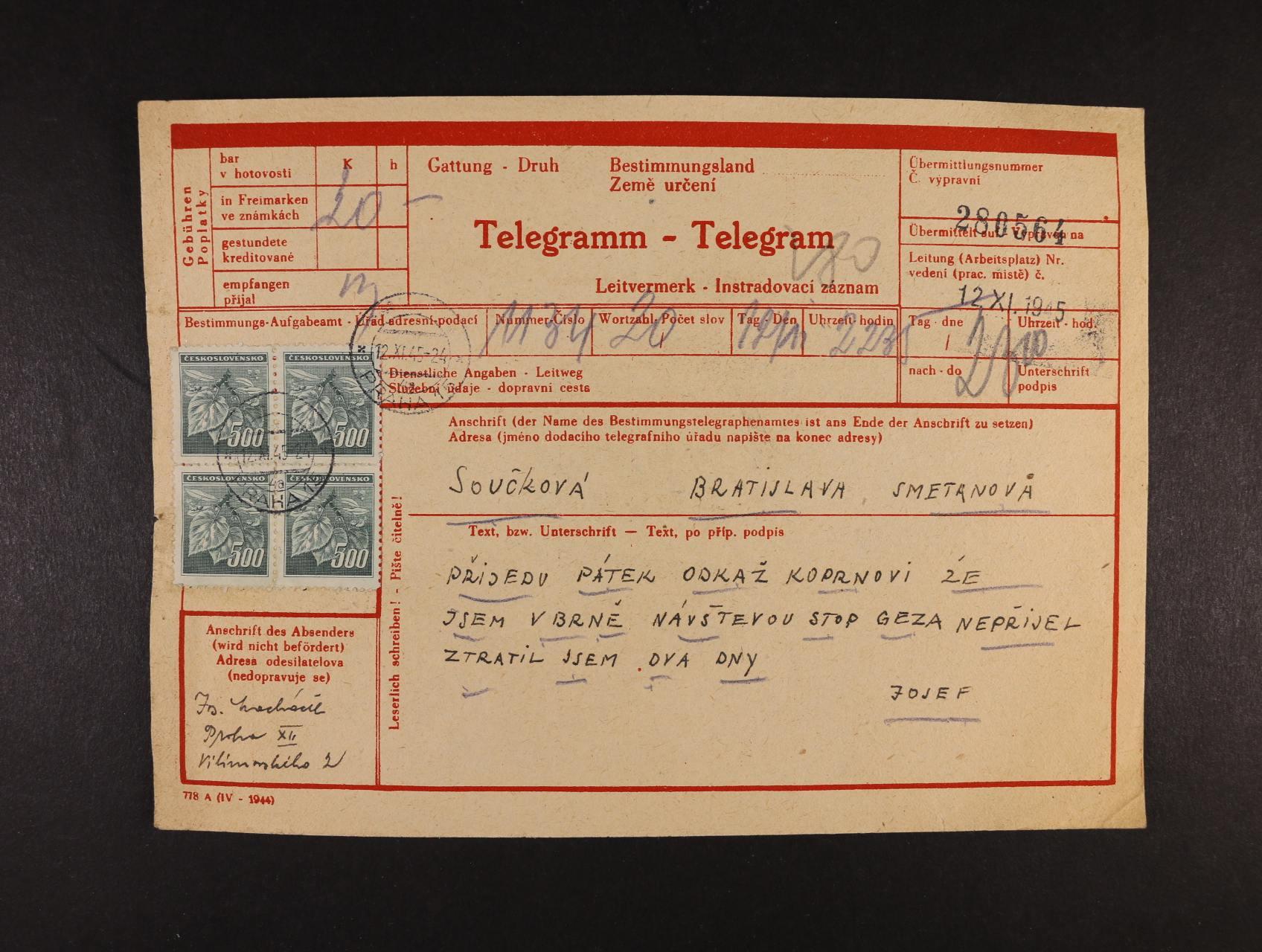protektorátní dvojjazyčný formulář Telegramm - Telegram frank. čtyřblokem zn. č. 350 s pod. raz. PRAHA 15 12.11.45, zajímavý doklad
