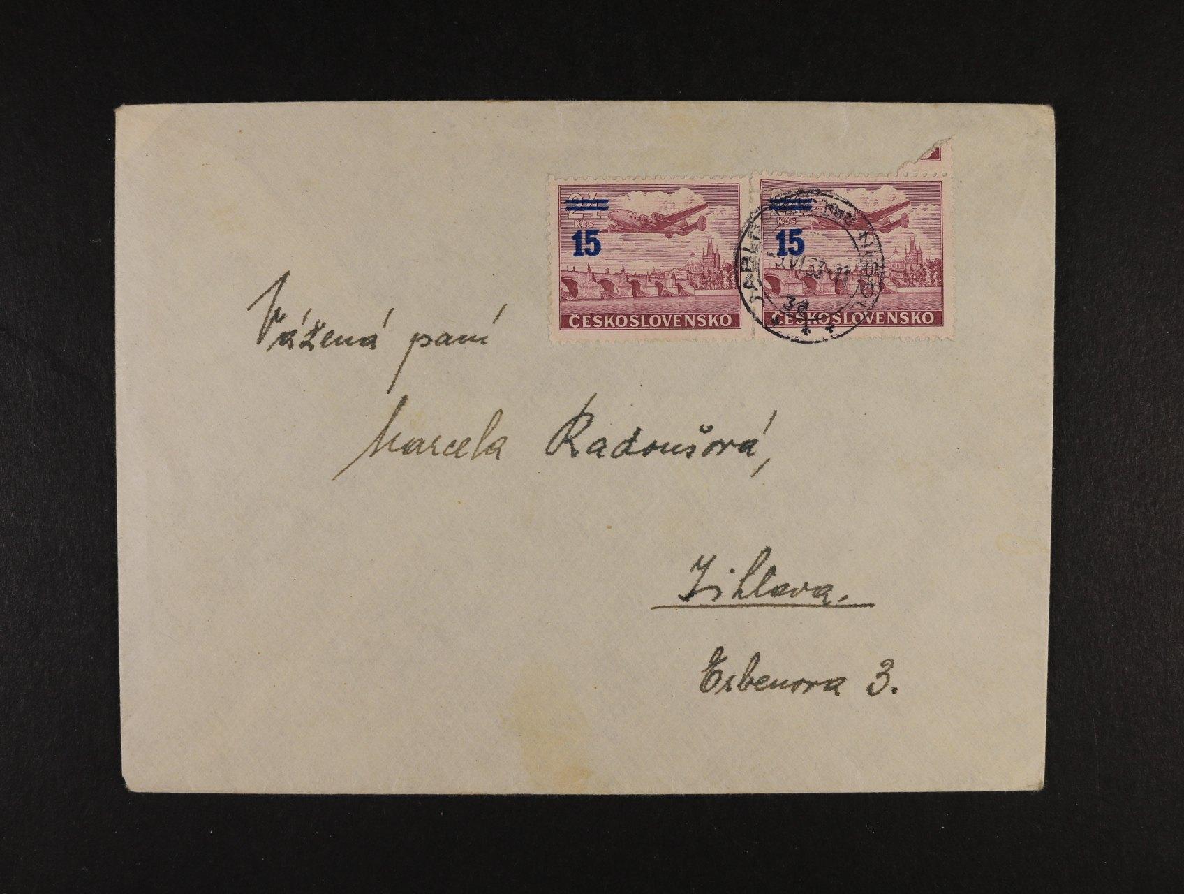 dopis do Jihlavy frank. zn. L 31 (2x), jedna zn. před nalepením natržena, pod. raz. JABLONEC N. NISOU 9.6.53
