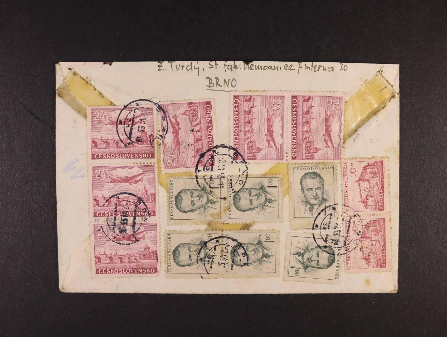 R-EXPRES dopis do Trenčína frank. na přední straně zn. č. 702 (10x), na zadní str. zn. 666 (6x), 521 (2x), L 23 (6x), pod. raz. BRNO 2  2.6.53, zajímavé, k prohlédnutí