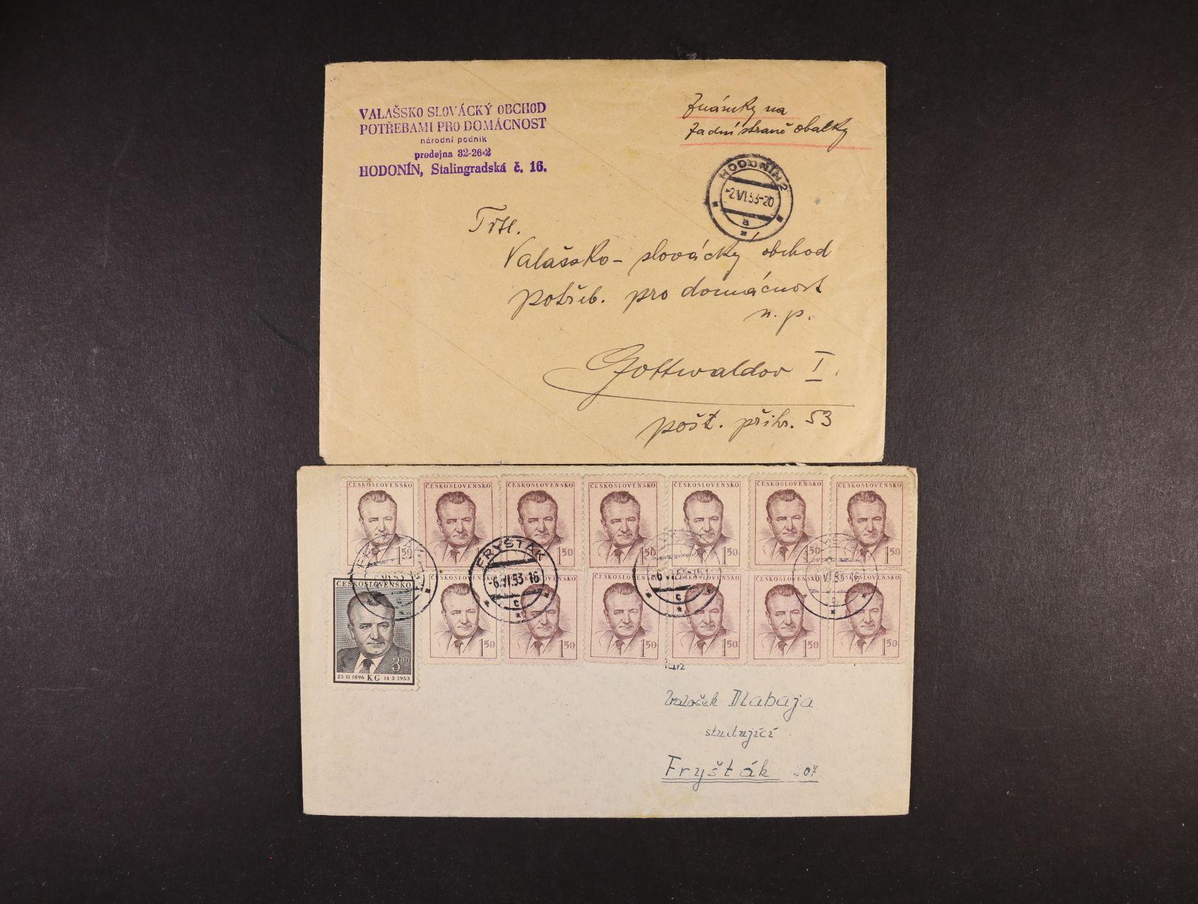dopis frank. zn. č. 717 v 10ti-bloku na zadní straně, pod. raz. HODONÍN 2.6.53 a dopis frank. zn. č. 485 (13x), 718, pod. raz. FRYŠTÁK 6.6.53
