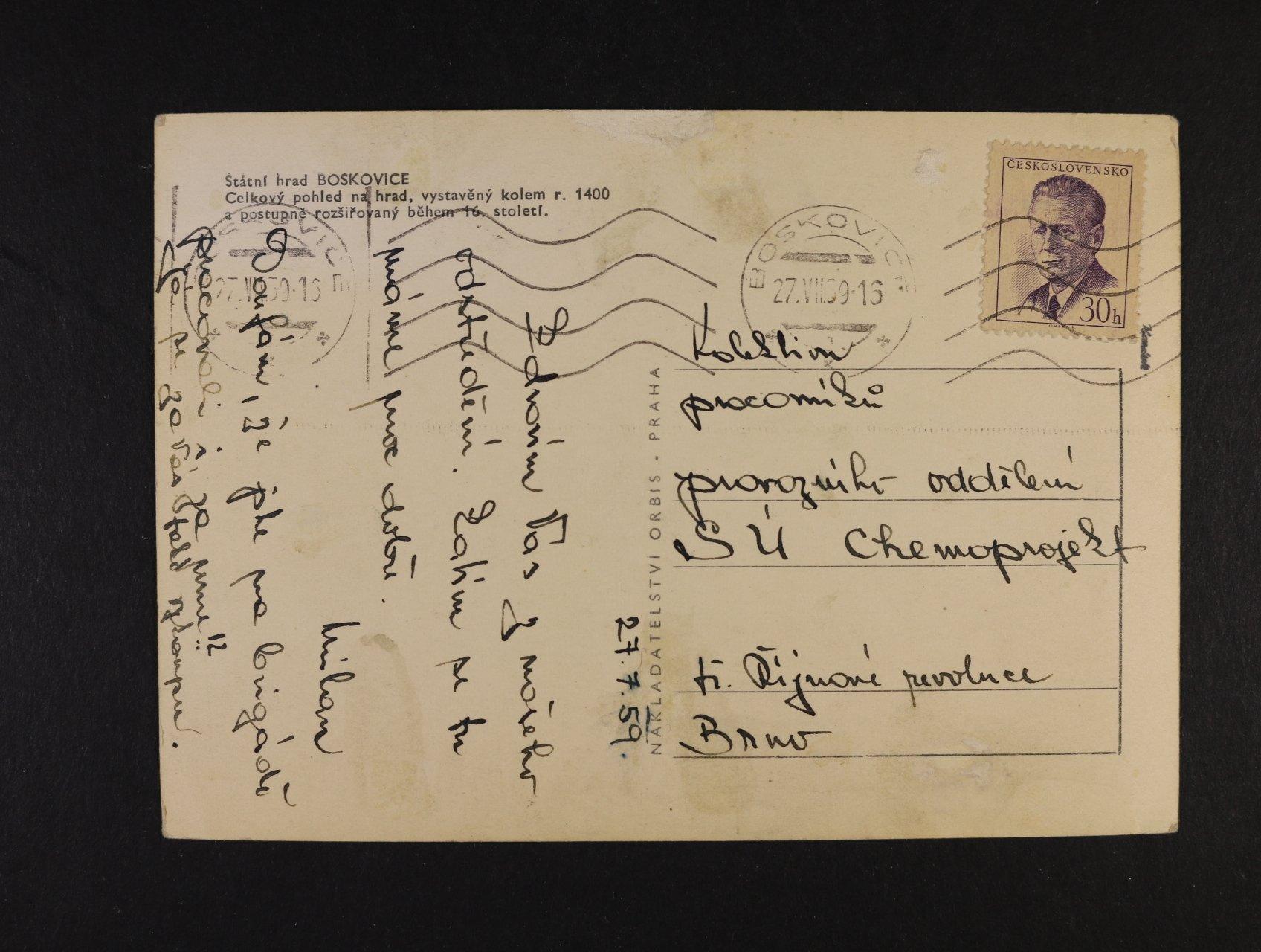 celistvost frank. zn. č. 1091x - fialový chybotisk, pod. raz. BOSKOVICE 27.7.59, zk. Karásek