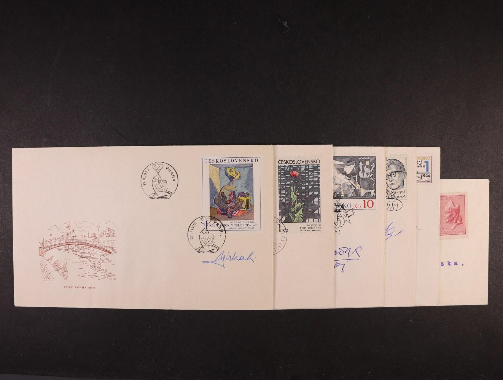 sestava 6 ks FDC s podpisy rytců L. Jirka, M. Ondráček, J. Herčík, B. Housa, K. Svolinský, J. Švengsbír