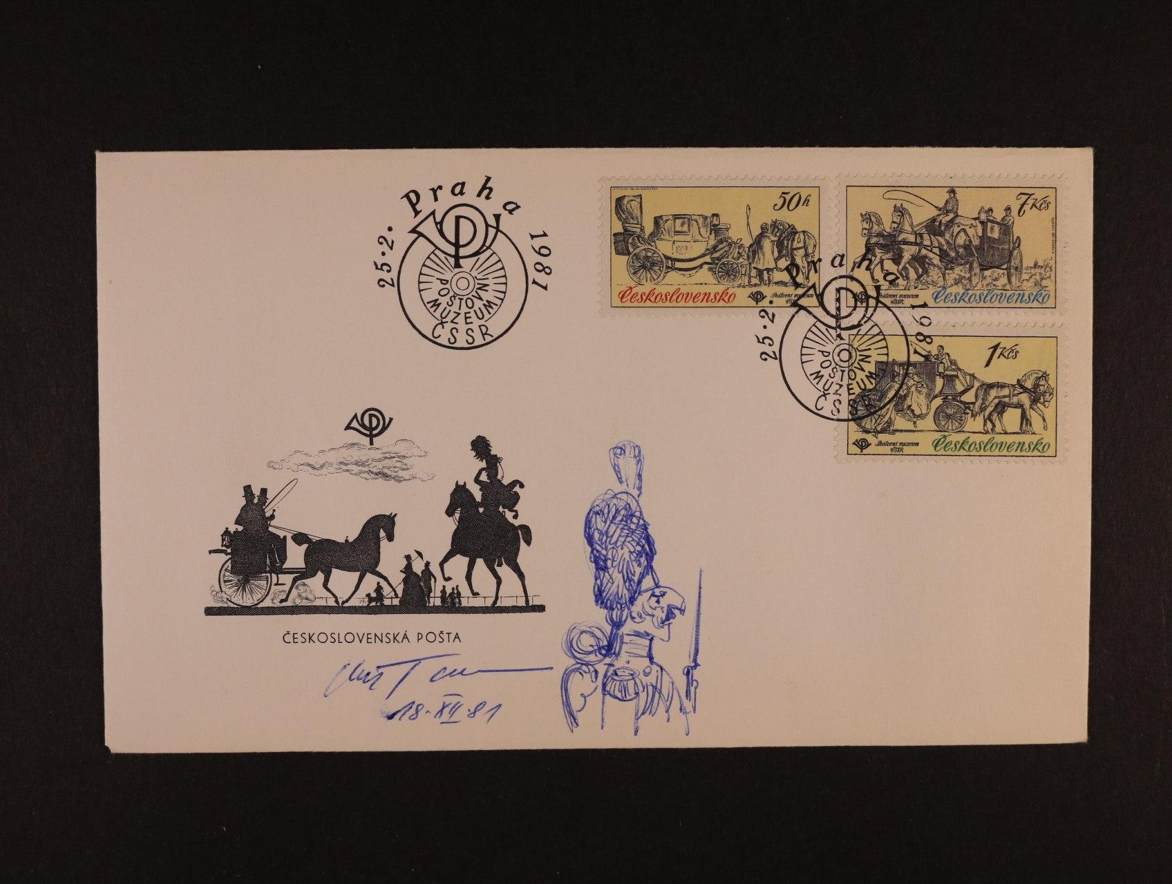 obálka FDC frank. zn. č. 2469, 2470, 2473 s kresbou a podpisem autora K. Tomana