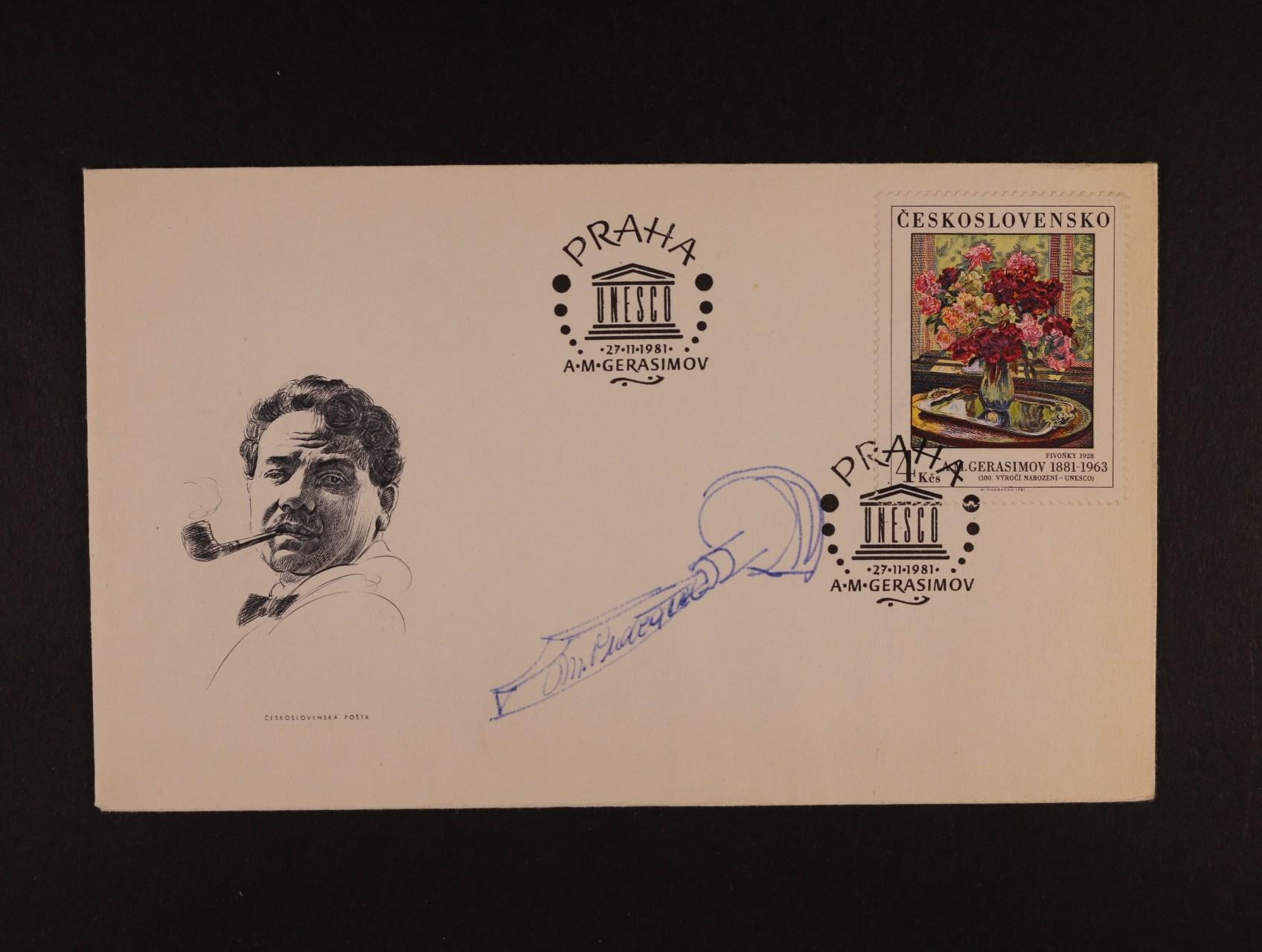 obálka FDC se zn. č. 2516 s kresbou a podpisem rytce M. Ondráčka