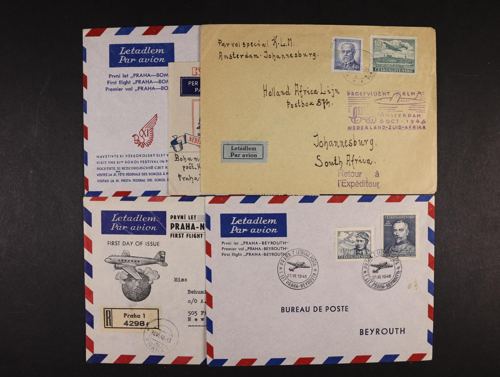 sestava 5 ks dopisů prvních letů, 2x Praha - Jižní Afrika (KLM), Praha - Bombay, Praha - Beyrout, Praha - New York