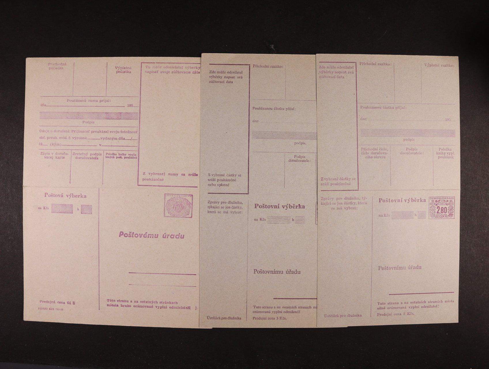 CPV č. 20 - CPV 38 - sestava 15 ks pošt. výběrek, nepoužité, kat. cena 7000 Kč