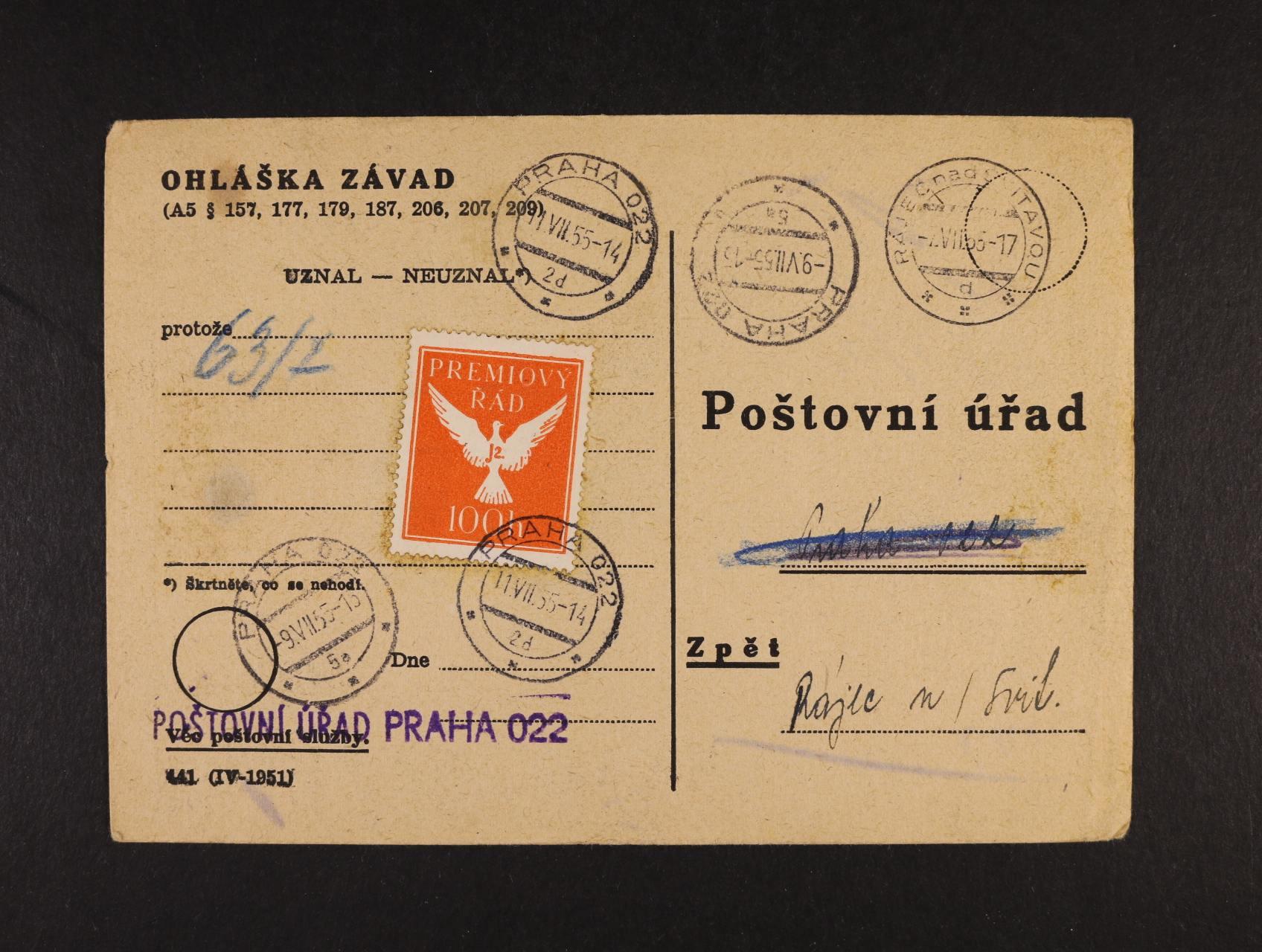 Prémiový řád - formulář Ohláška závad frank. zn. PŘ č. 4, zajímavé