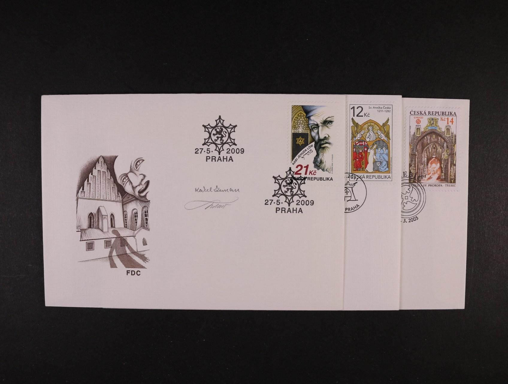 sestava 15 ks FDC s podpisy tvůrců zn., mj. M.Ondráček, V. Fait, P. Sivko, K. Zeman, J. Tvrdoň,