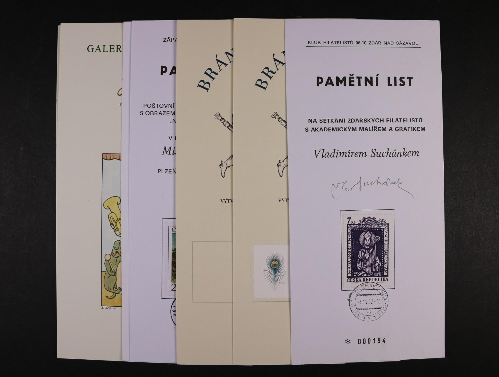 sestava 30 ks pam. listů z let 2002 - 2011, některé s podpisy autorů a tvůrců zn.