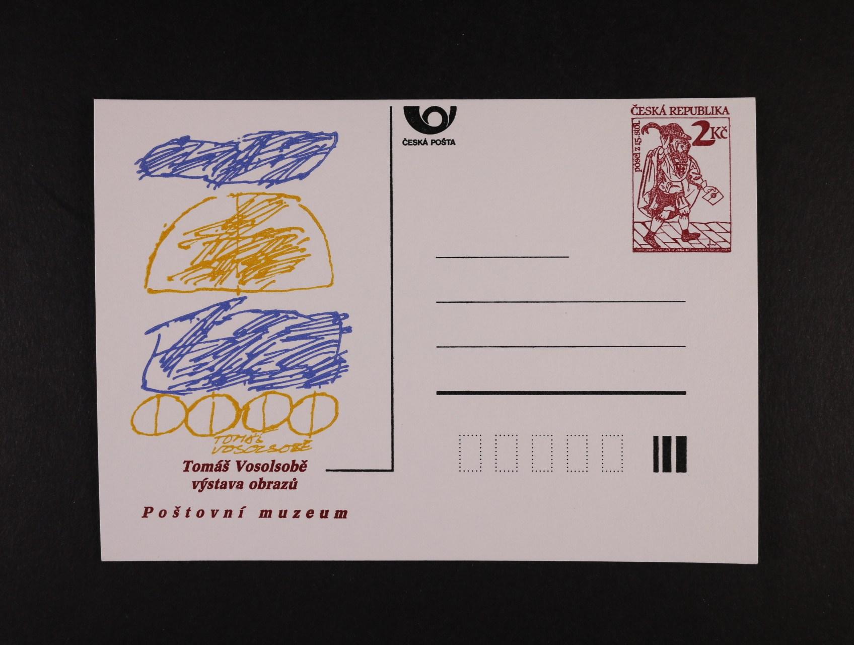 CDV č. 2 PM 1 s přítiskem Tomáš Vosolsobě VÝSTAVA OBRAZŮ v barvě žlutooranžové, nepoužitá, kat. cena 2500 Kč