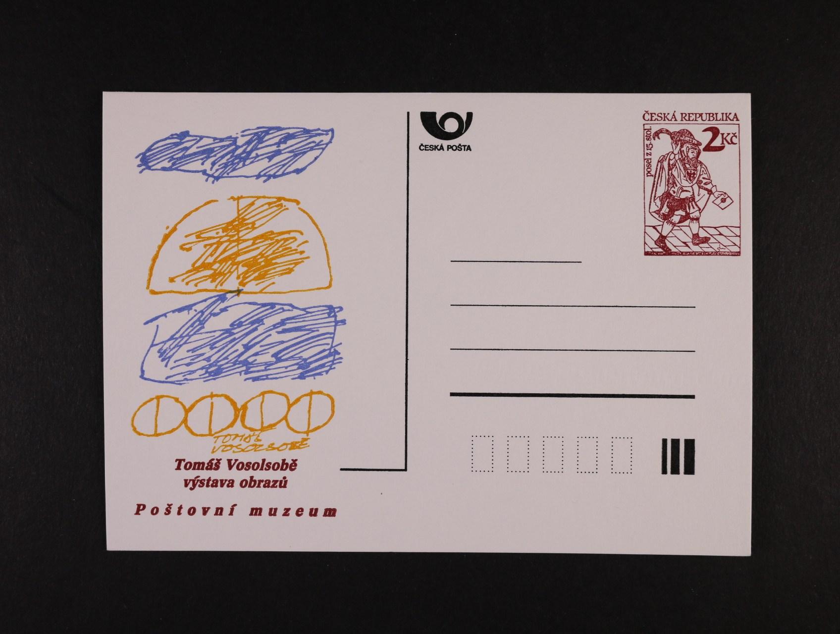 CDV č. 2 PM 1 s přítiskem Tomáš Vosolsobě VÝSTAVA OBRAZŮ v barvě tmavěoranžové a posunem ořezu vlevo, nepoužitá, kat. cena 2500 Kč