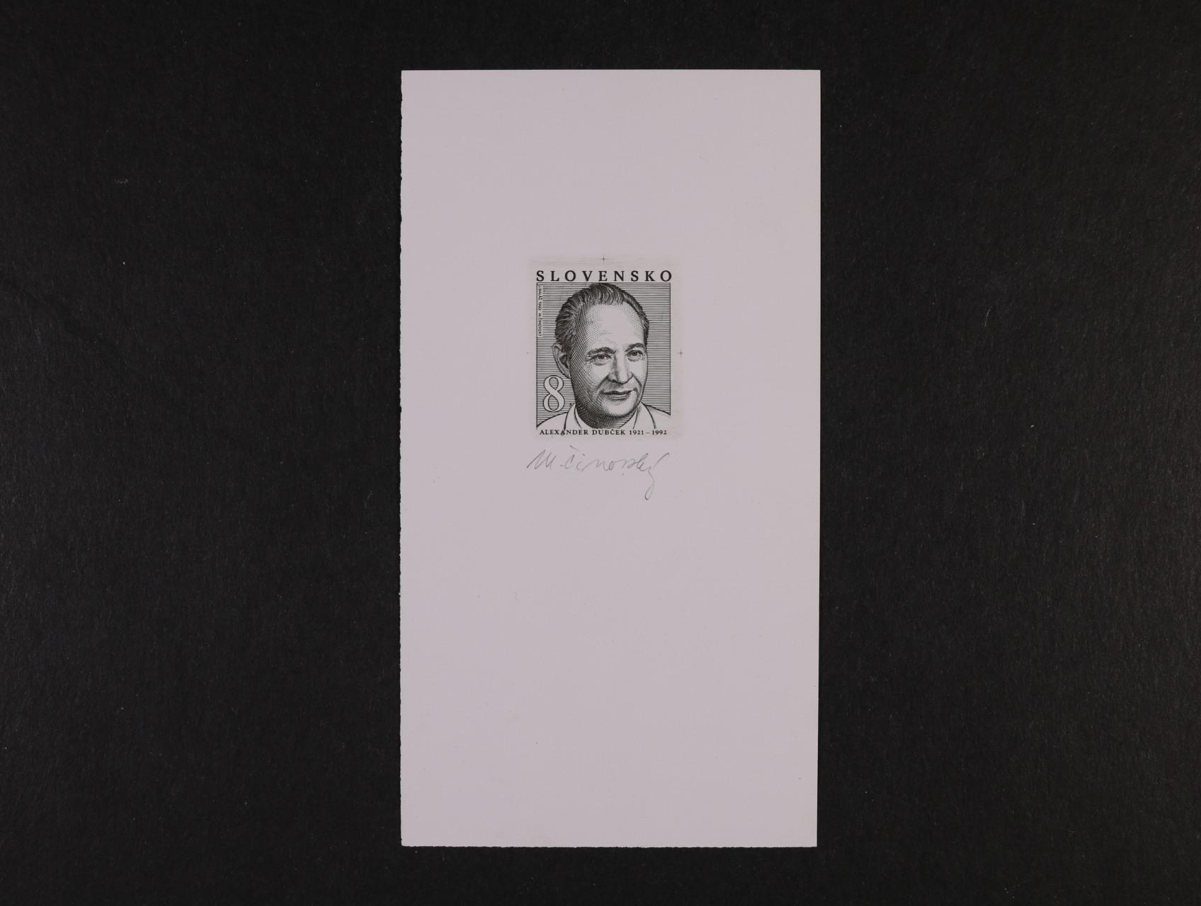 otisk orig. rytiny zn. č. 11 v černé barvě na kousku papíru, sign. Činovský