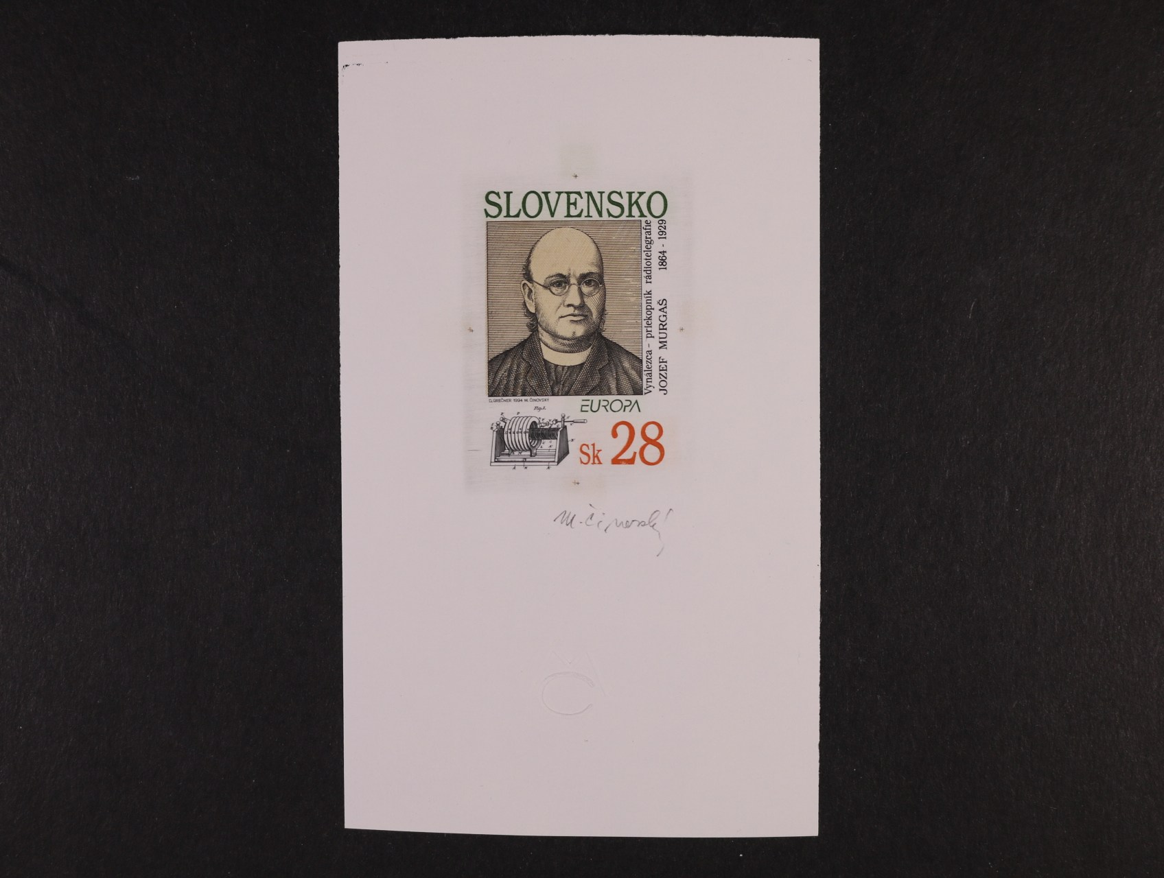 otisk orig. rytiny zn. č. 13 v orig. barvách na kousku známk. papíru s lepem, sign. Činovský