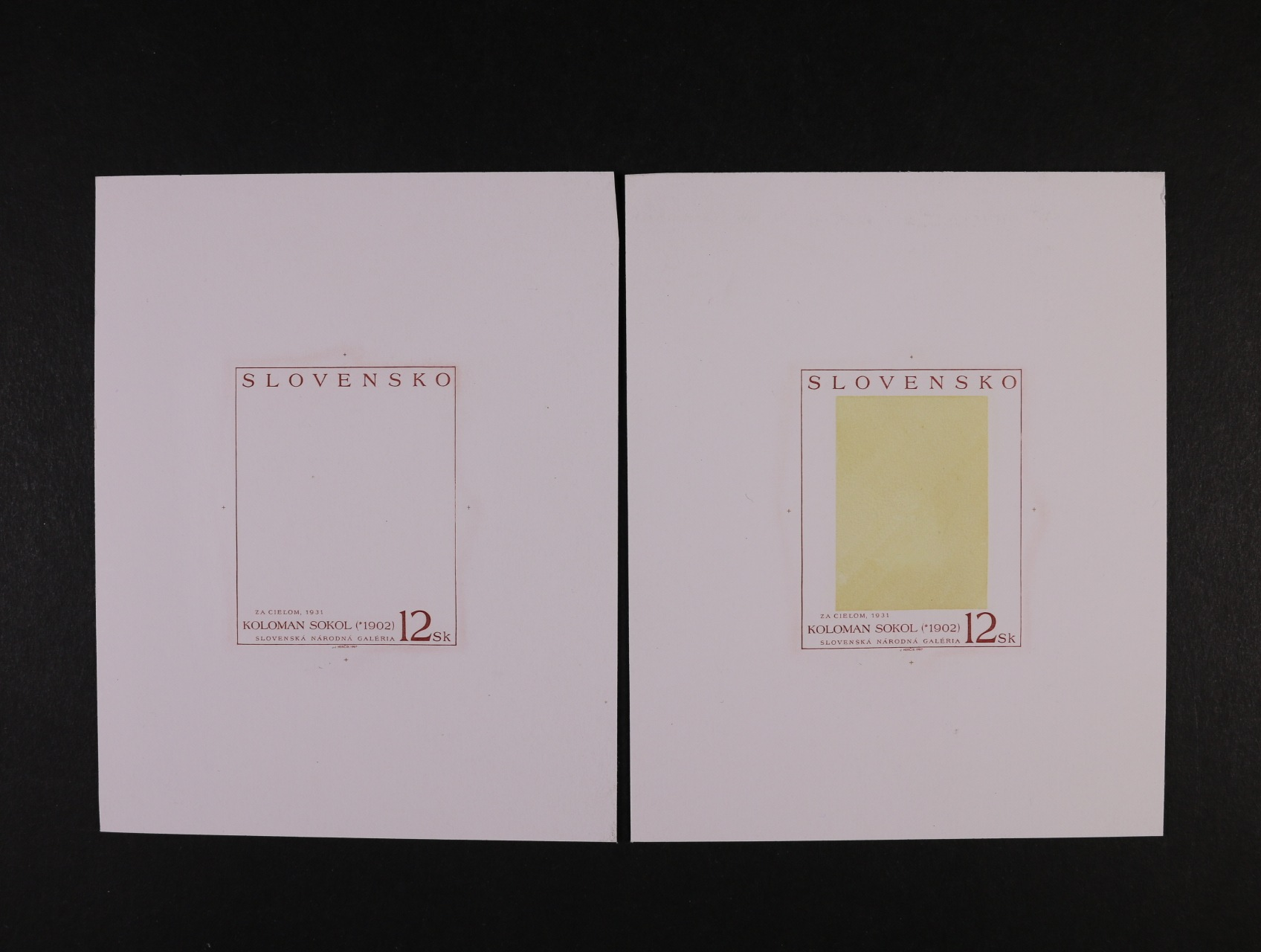 dva fázové otisky rytiny zn. č. 134 od J. Herčíka na kouscích papíru bez lepu