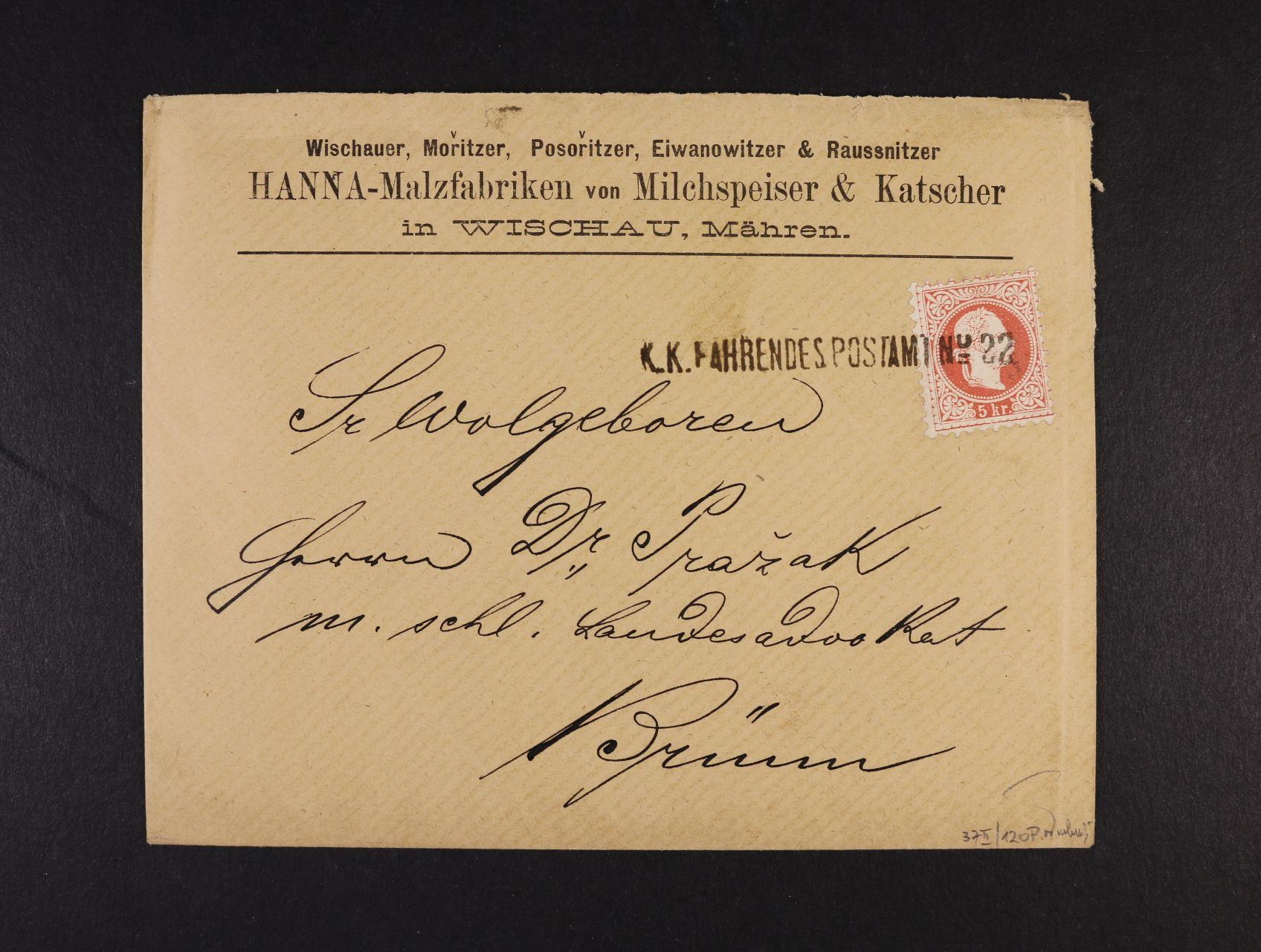 firemní dopis do Brna frank. zn. Fe. č. 37 II s pod. řádkovým raz. K.K. FAHRENDESPOSTAMT No. 22, (kat. Müller 120 bodů), zk. Ferchenbauer, lux. kvalita