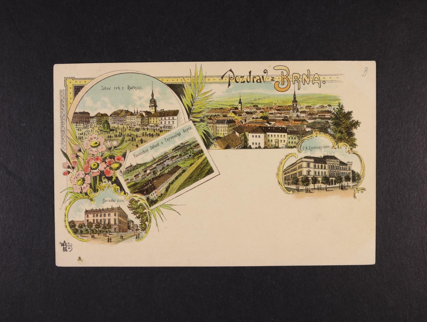 Brno - bar. litograf. koláž, dl. adresa, použitá 1899, dobrá kvalita