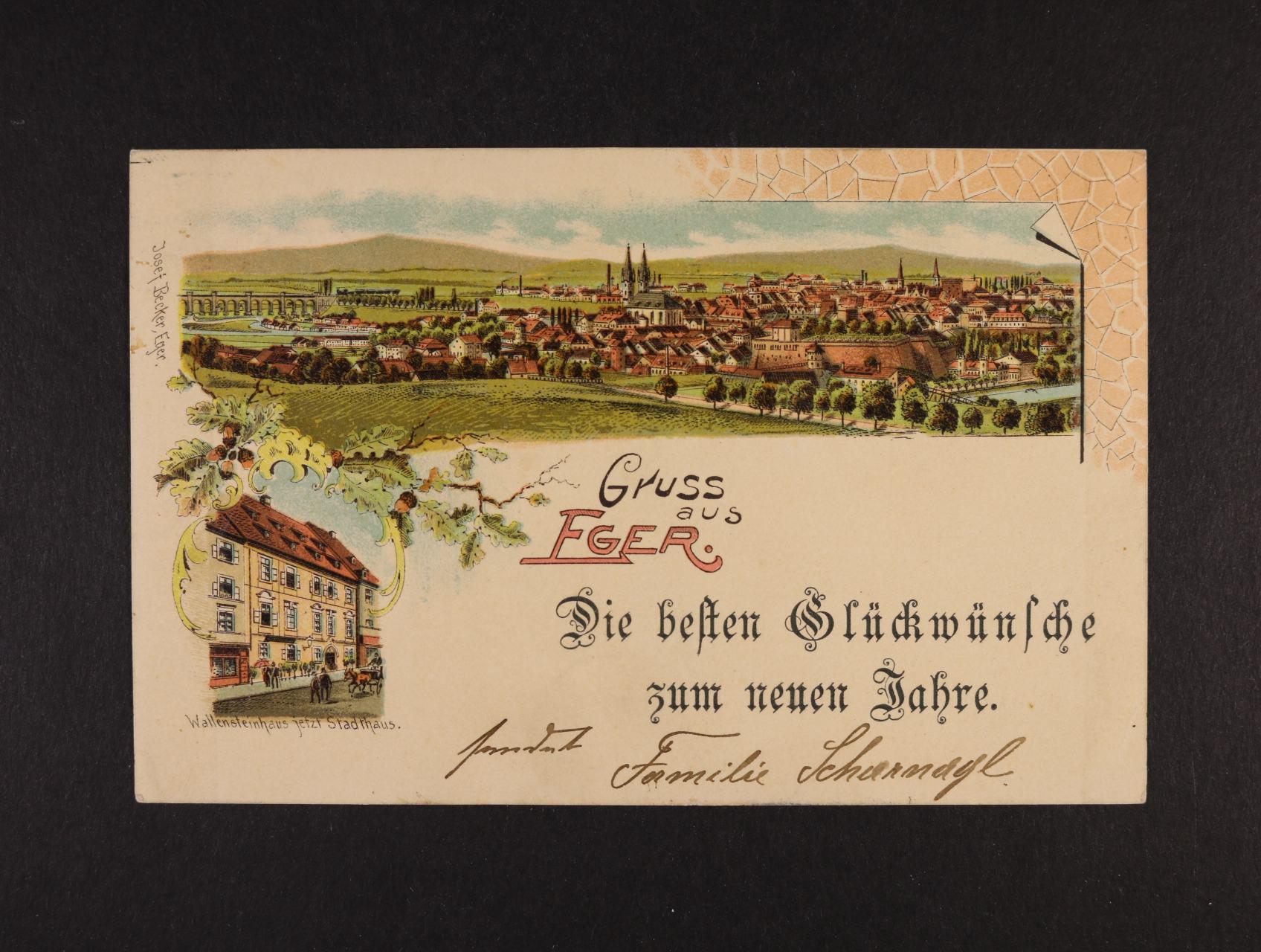 Cheb - Eger - bar. litograf. koláž, dl. adresa, odlepená známka, použitá 1899
