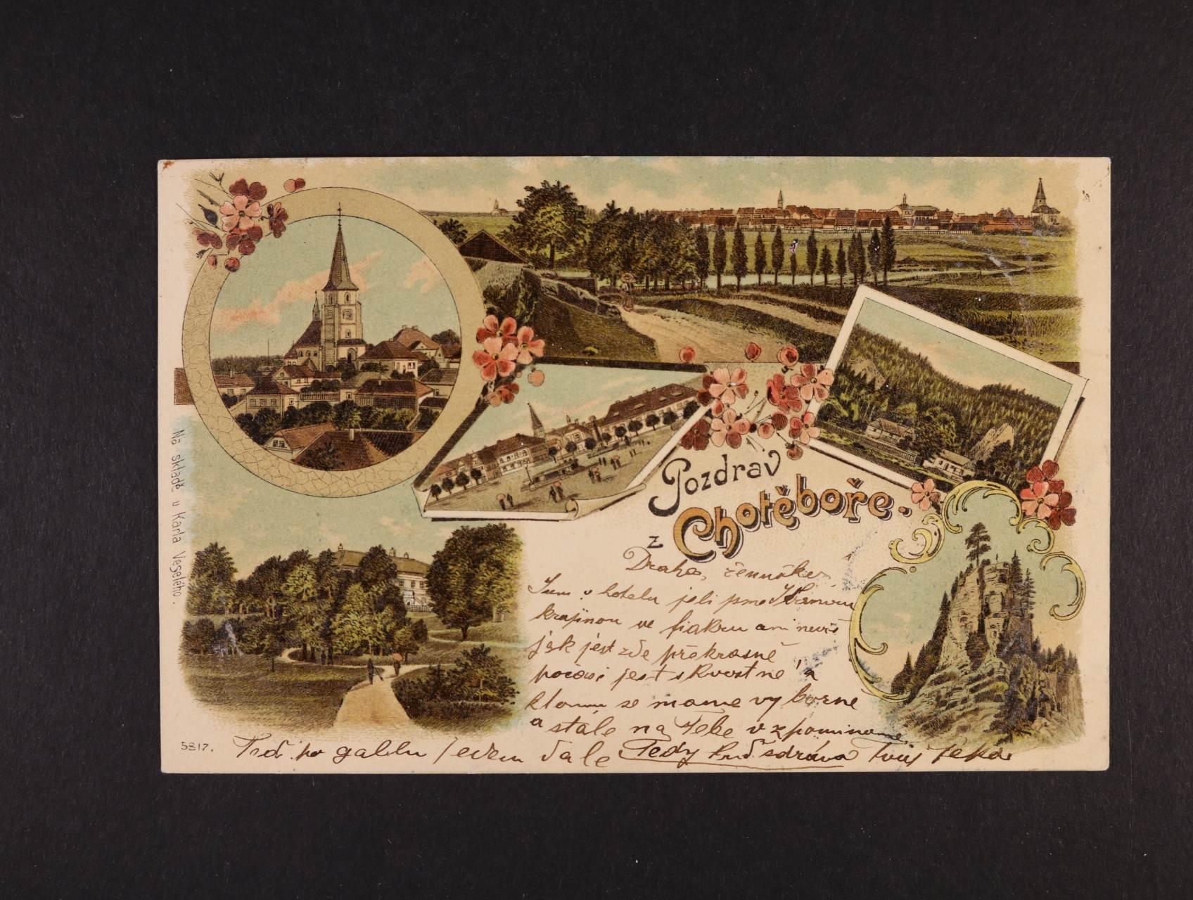 Chotěboř - bar. litograf. koláž, dl. adresa, použitá 1898