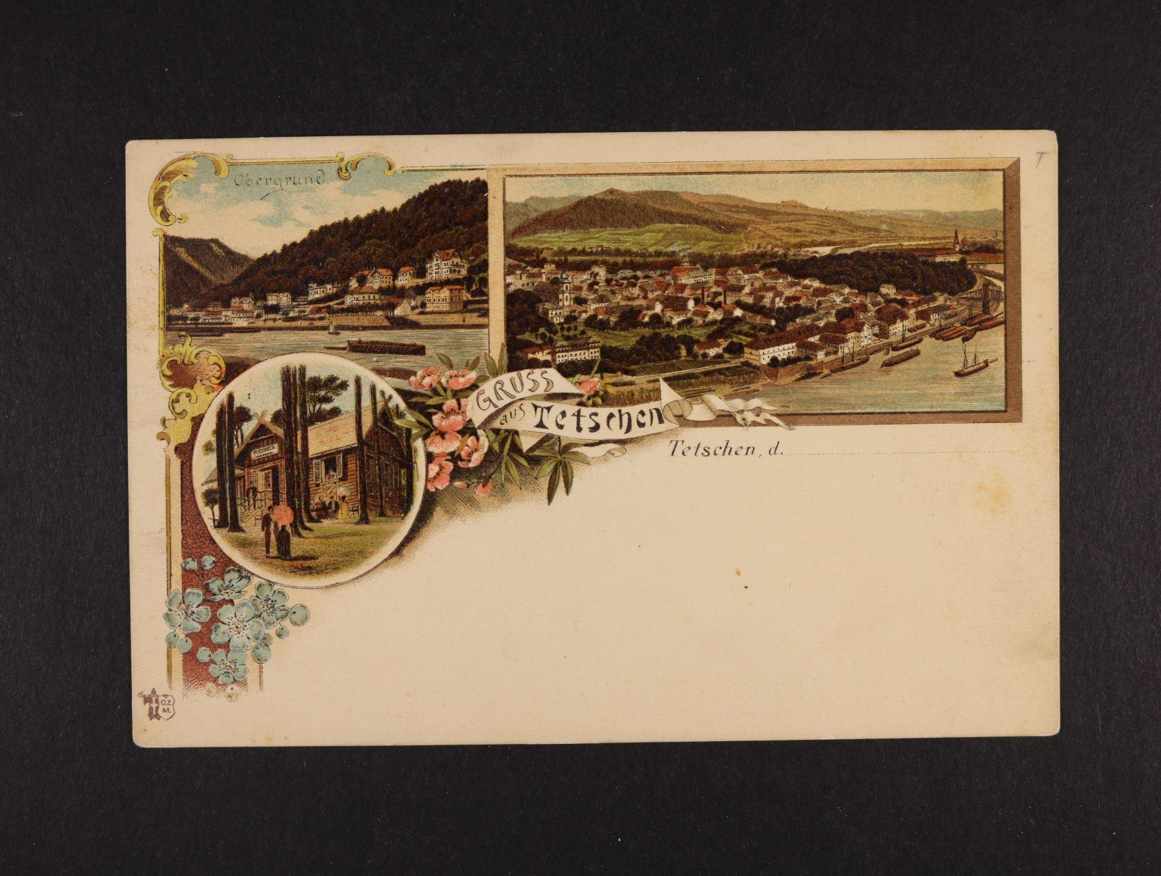 Děčín - Tetschen - bar. litograf. koláž, dl. adresa, nepoužitá