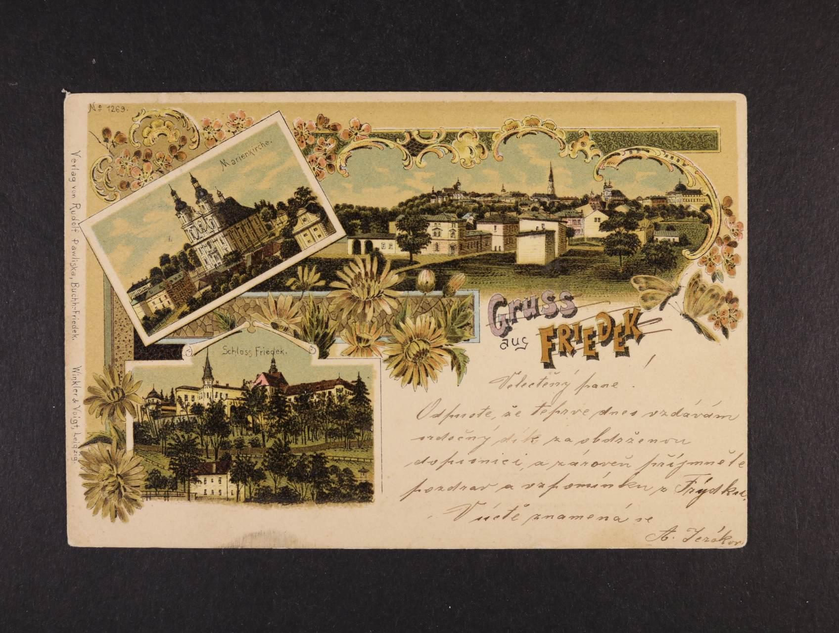 Frýdek - bar. litograf. koláž, dl. adresa, použitá 1899, dobrá kvalita