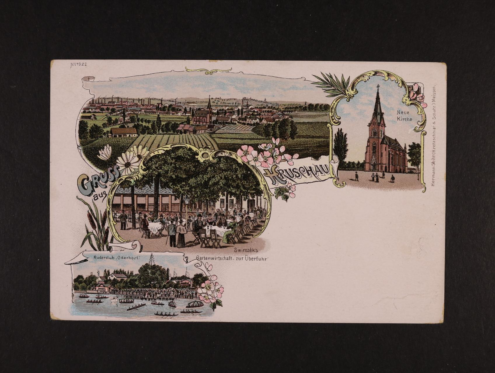 Hrušov - bar. litograf. koláž, dl. adresa, nepoužitá