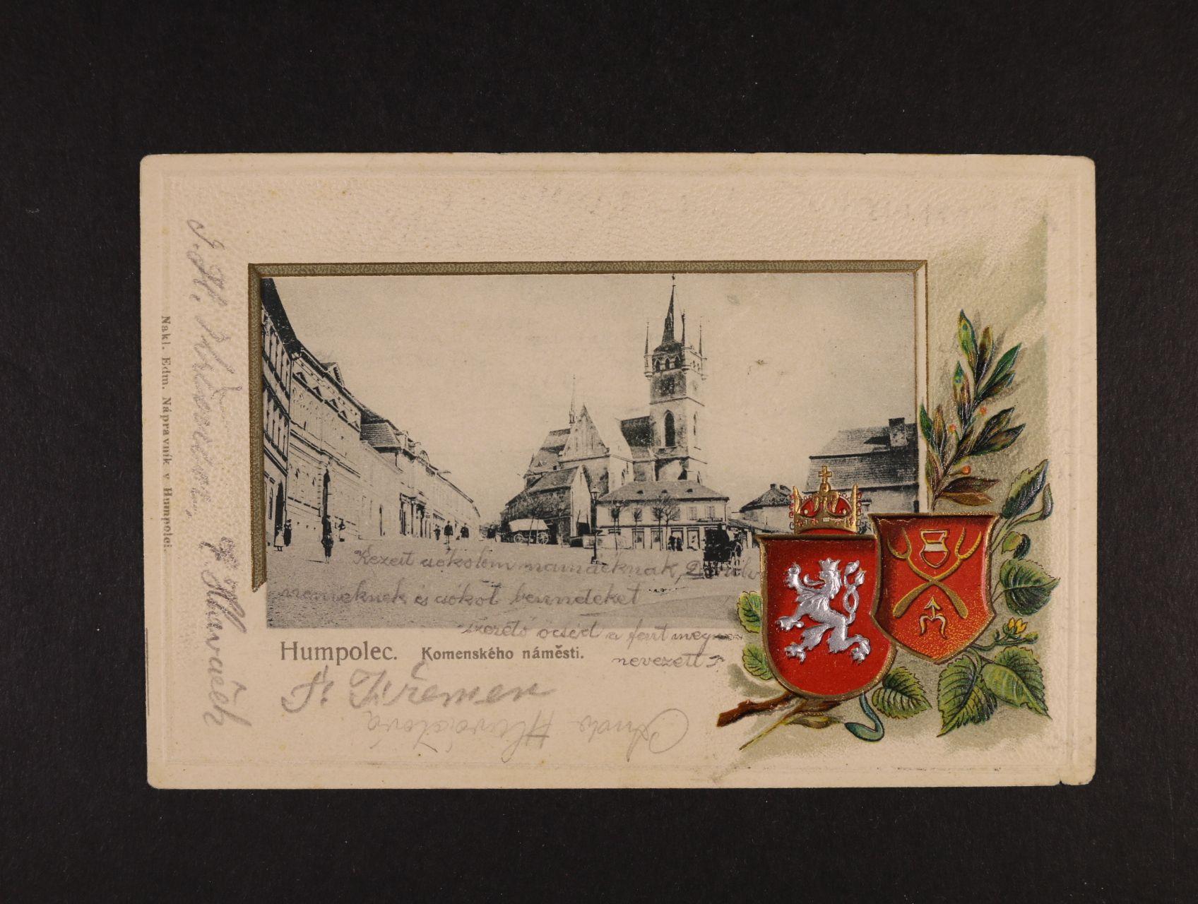 Humpolec - bar. reliéfní litograf. koláž, dl. adresa, použitá 1907, dobrá kvalita