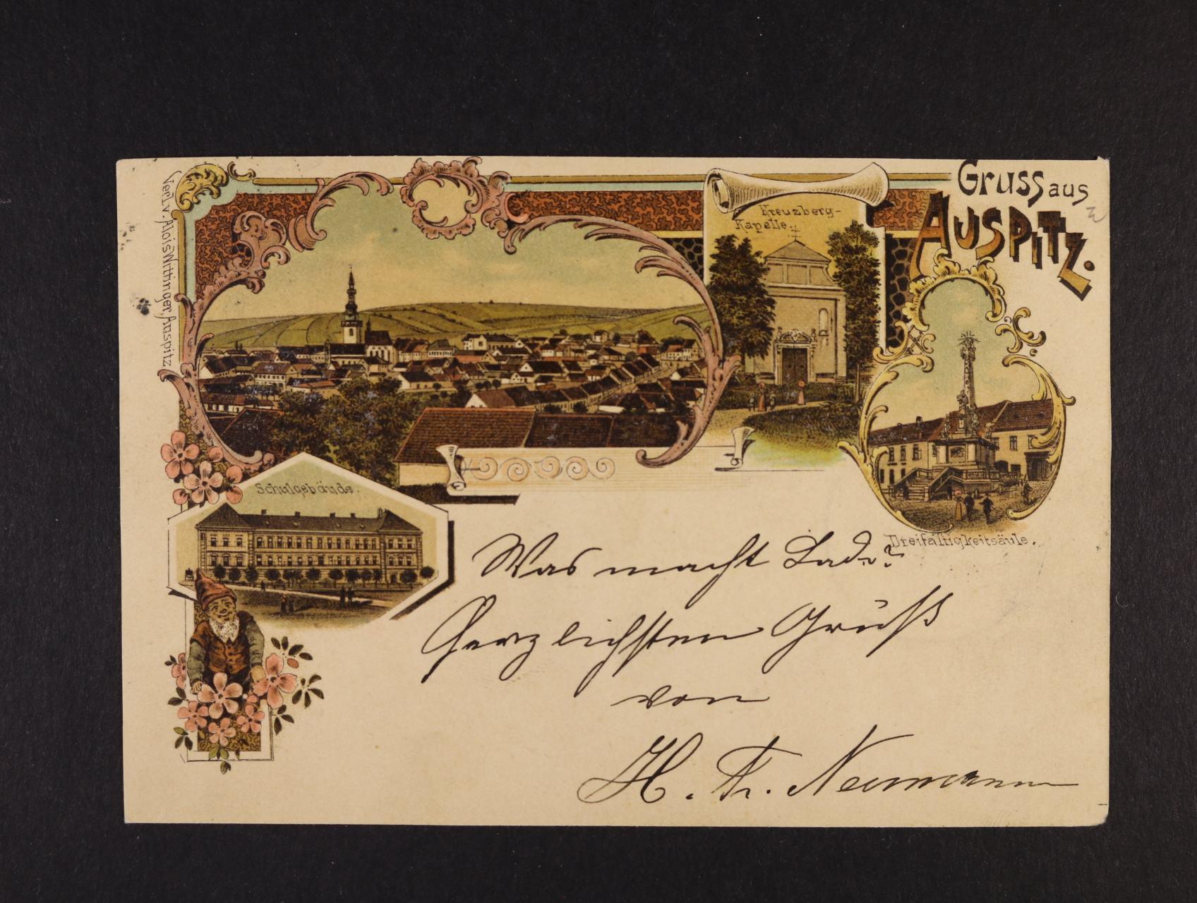 Hustopeče - Auspitz - bar. litograf. koláž, dl. adresa, použitá 1898, odlepená zn., dobrá kvalita