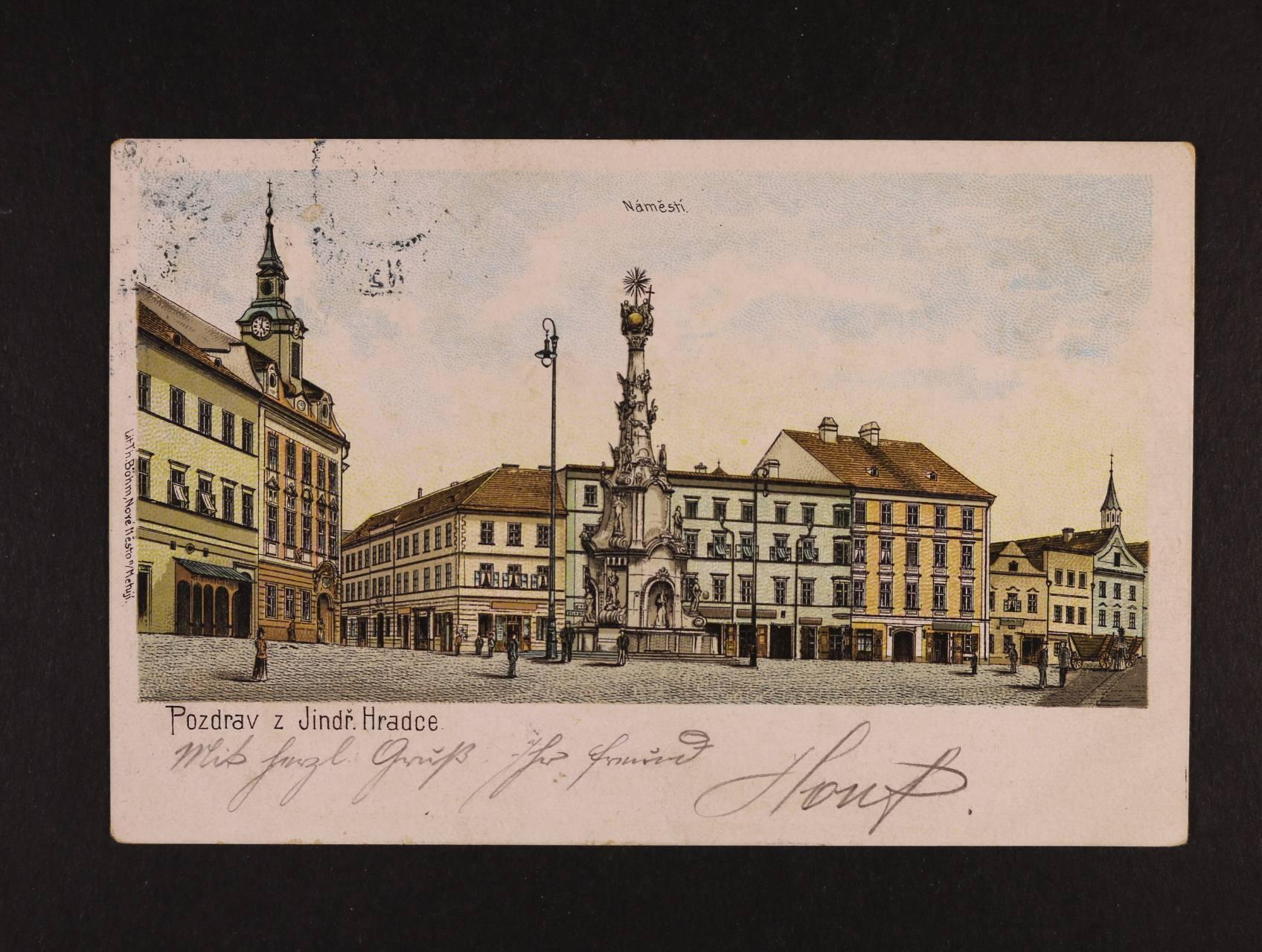 Jindřichův Hradec - bar. litografie, dl. adresa, použitá 1902