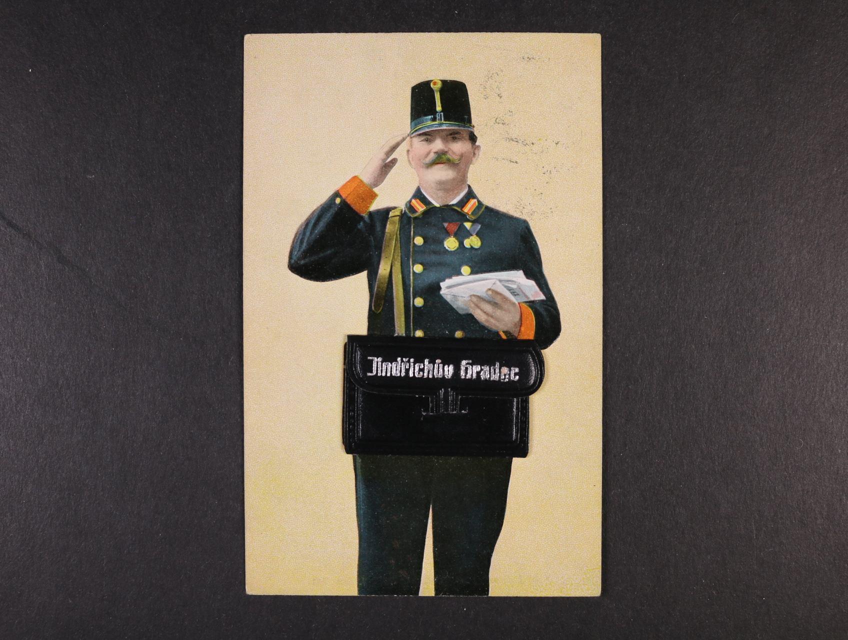 Jindřichův Hradec - bar. pohlednice pošťáka se složeným leporelem v tašce, použitá 1911, dobrá kvalita