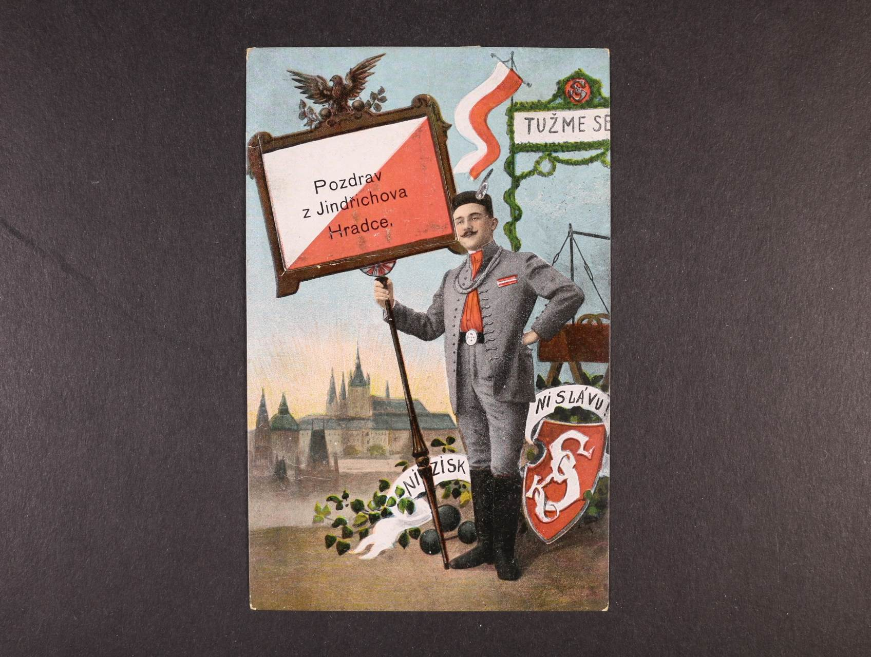 Jindřichův Hradec - bar. sokolská pohlednice s lerorelem, použitá 1912