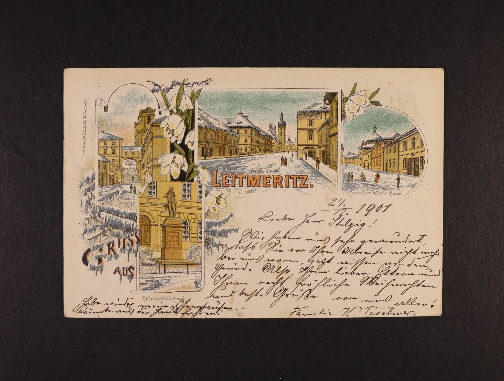 Litoměřice - bar. litograf. koláž, dl. adresa, použitá 1901, dobrá kvalita