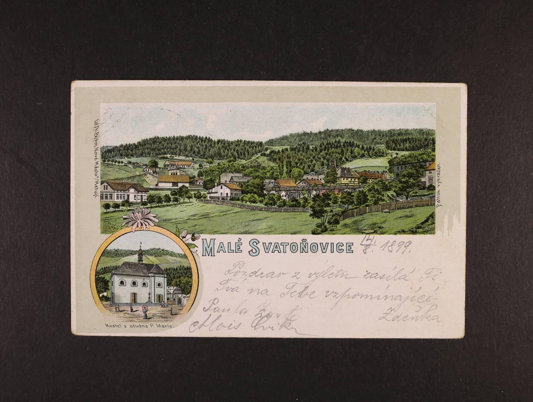 Malé Svatoňovice - bar. litograf. koláž, dl. adresa, použitá 1899, dobrá kvalita