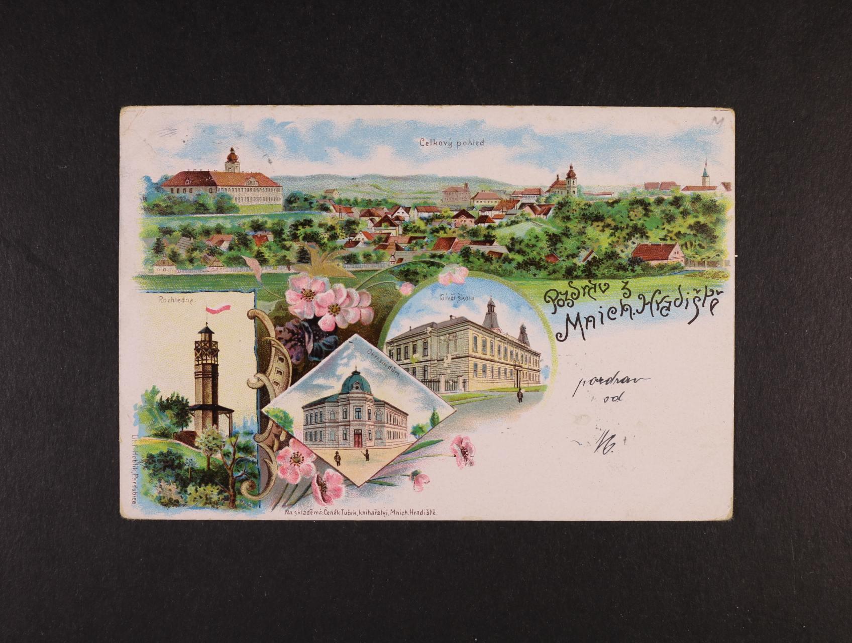 Mnichovo Hradiště - bar. litograf. koláž, dl. adresa, použitá 1900