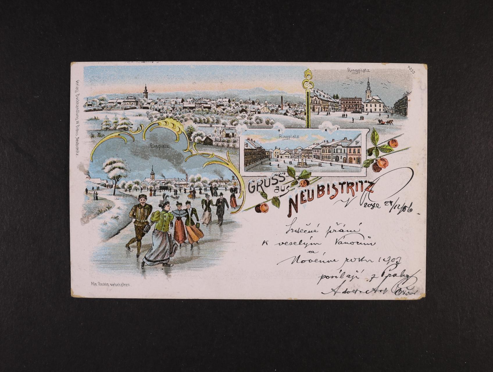 Nová Bystřice - bar. litograf. koláž, dl. adresa, použitá 1906