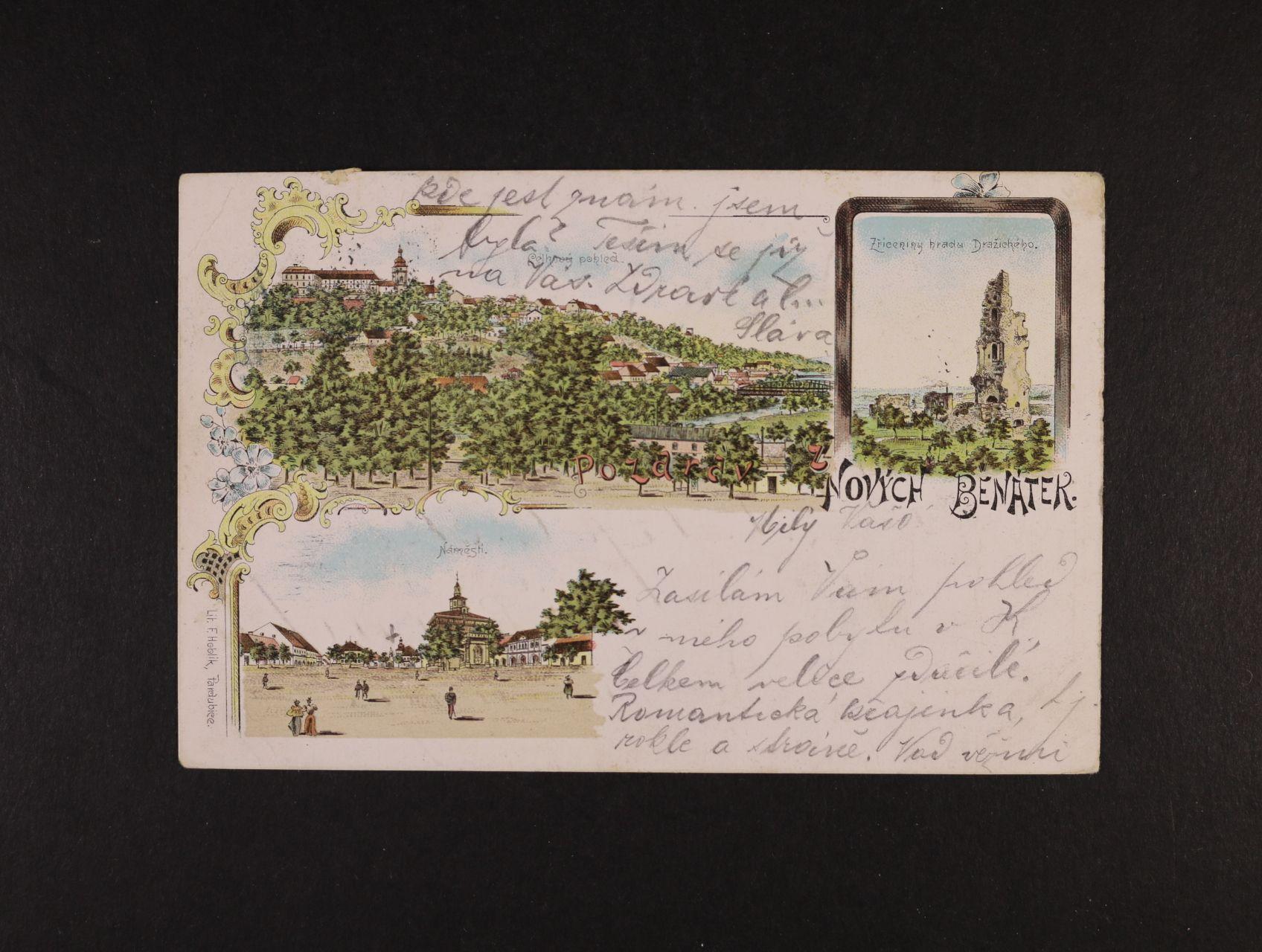 Nové Benátky - bar. litograf. koláž, dl. adresa, použitá 1900