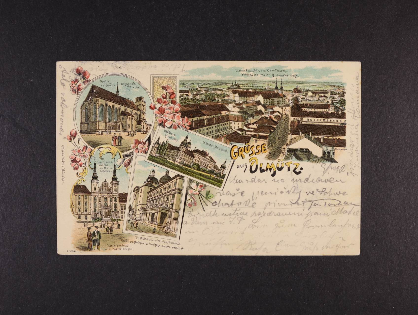 Olomouc - bar. litograf. koláž, dl. adresa, použitá 1898