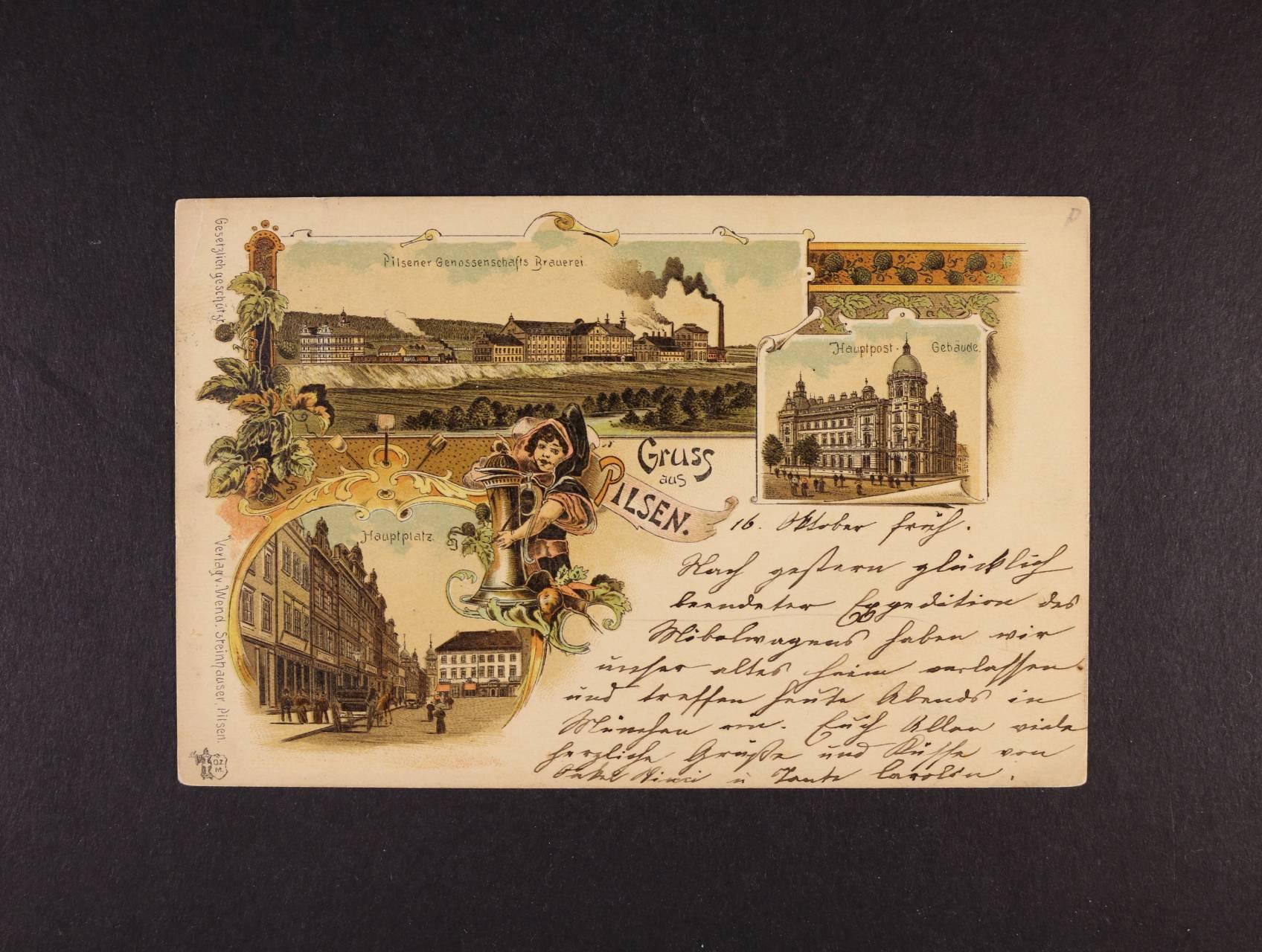 Plzeň - bar. litograf. koláž, dl. adresa, použitá 1897, velmi dobrá kvalita