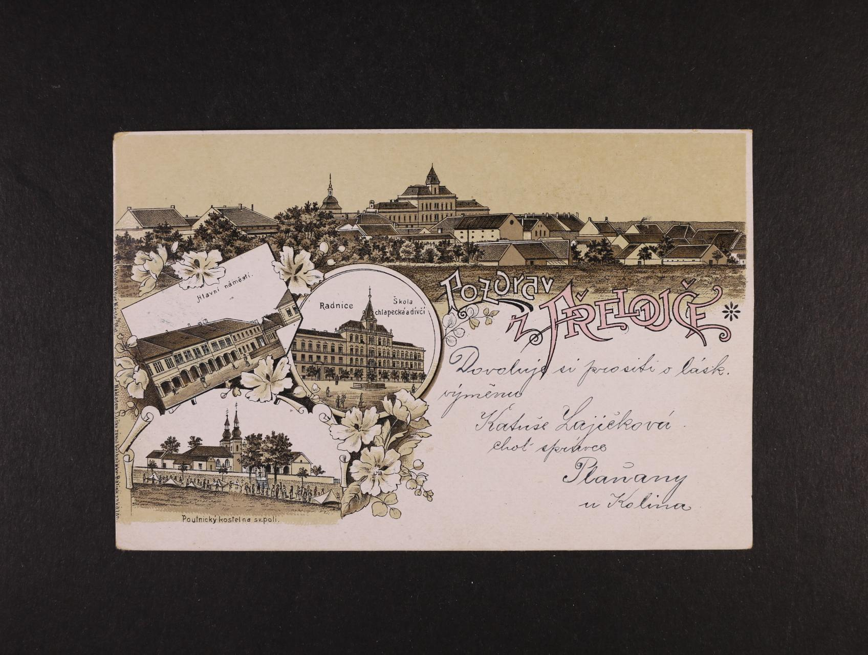 Přelouč - bar. litograf. koláž, dl. adresa, použitá 1899