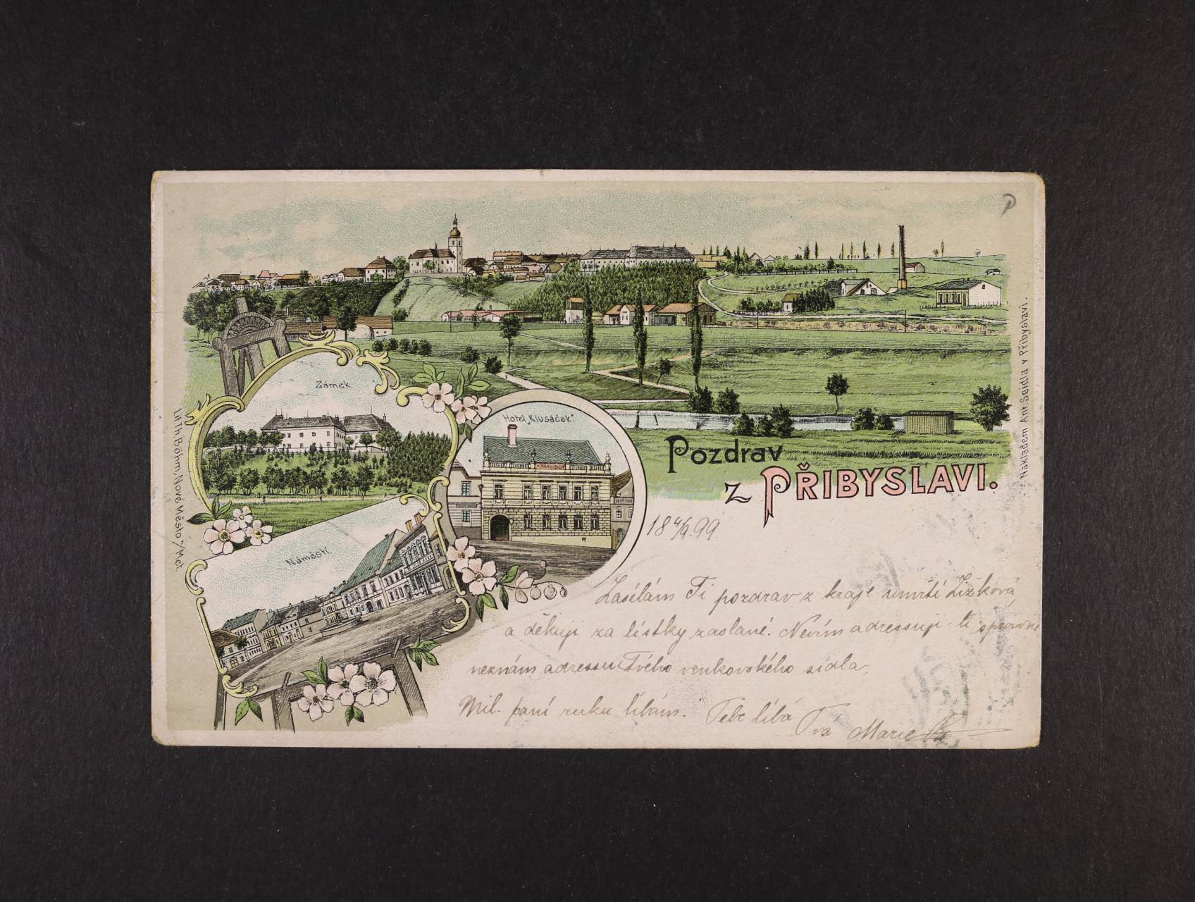 Přibyslav - bar. litograf. koláž, dl. adresa, použitá 1899