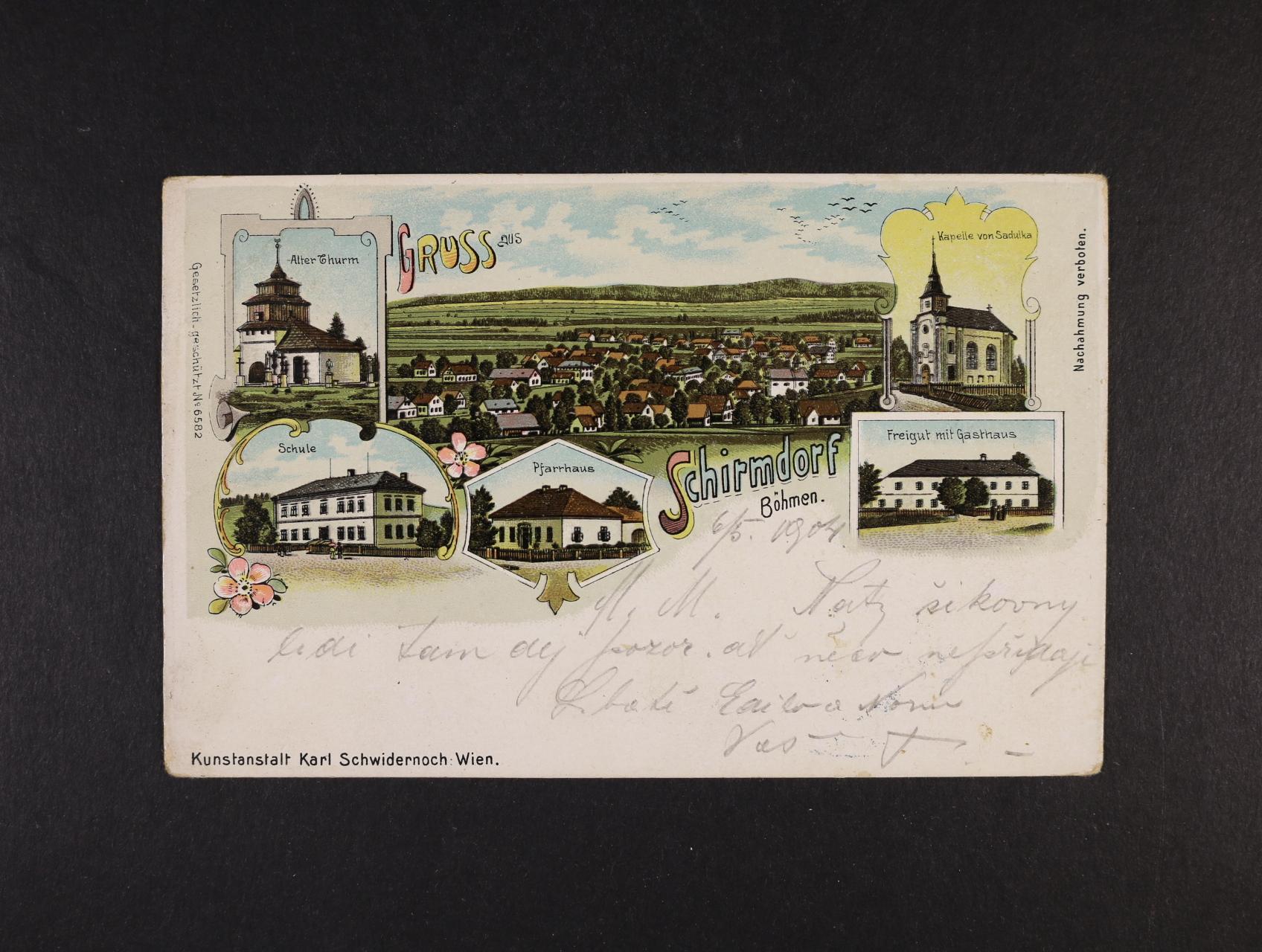 Semanín - Schirmdorf - bar. litograf. koláž K. Schwidernoch, dl. adresa, použitá 1904