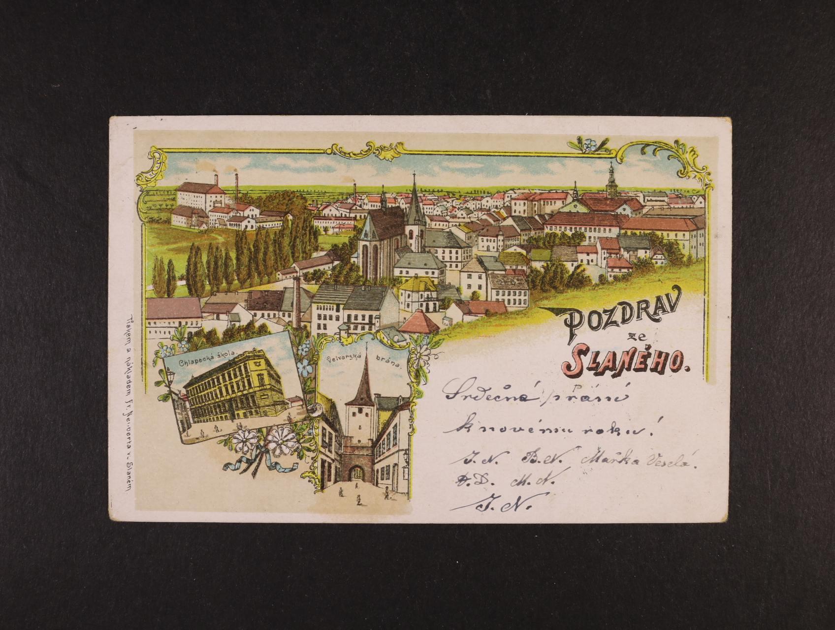 Slané - bar. litograf. koláž, dl. adresa, použitá 1901