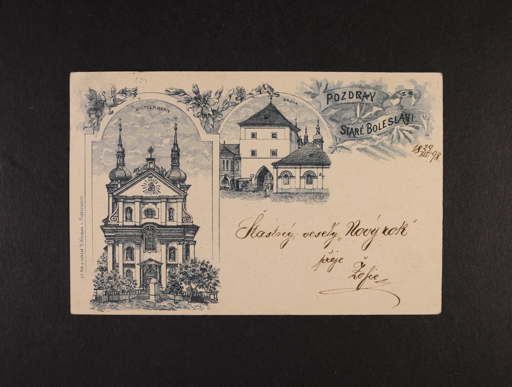 Stará Boleslav - jednobar. litograf. koláž, dl. adresa, použitá 1898, velmi dobrá kvalita