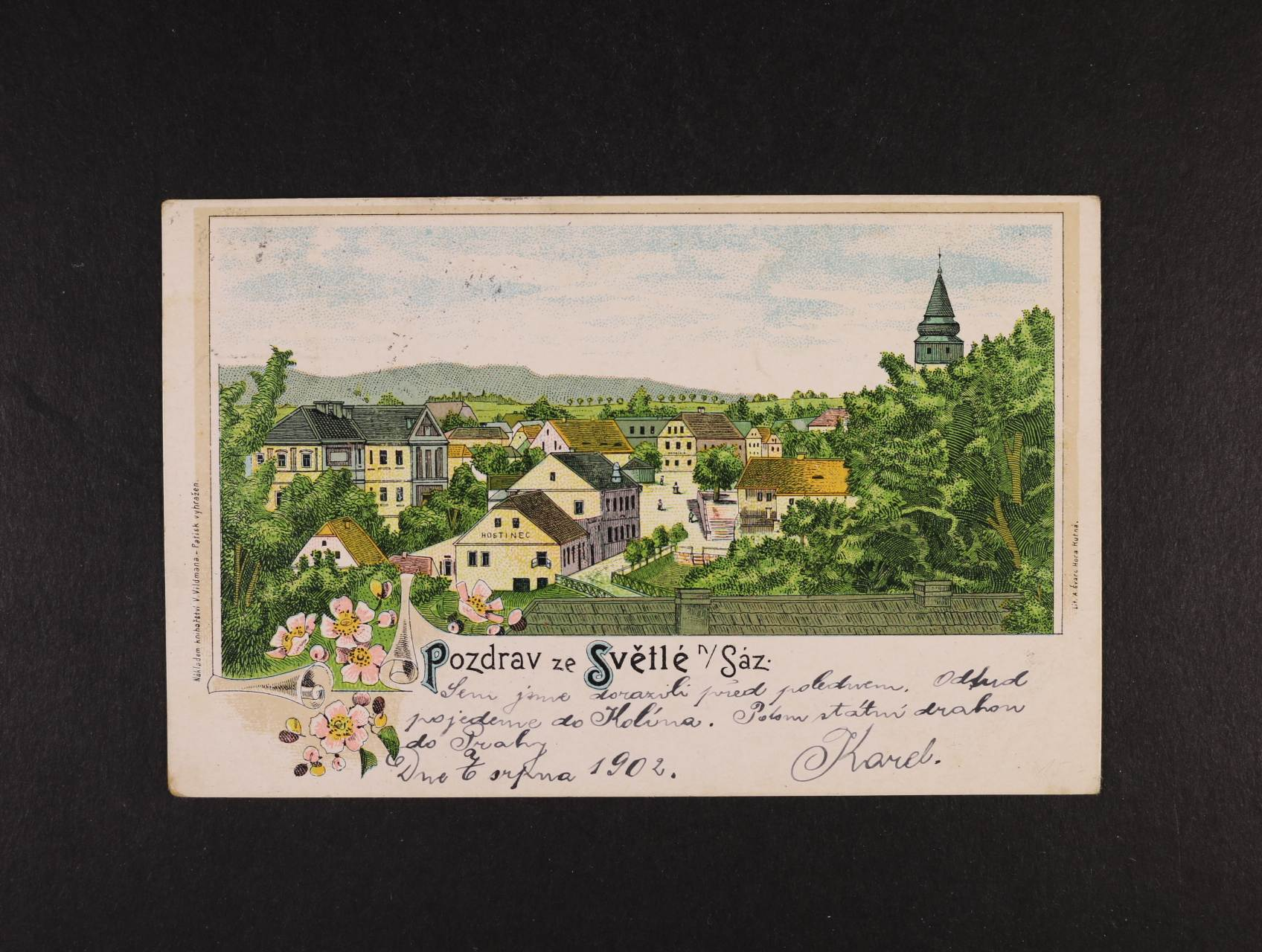 Světlá nad Sázavou - bar. litograf. koláž, dl. adresa, použitá 1902