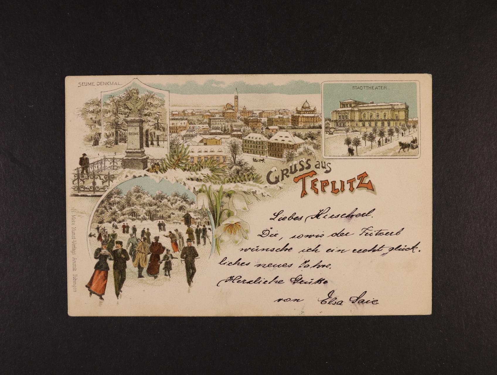 Teplice - bar. litograf. koláž, dl. adresa, použitá 1896, odlepená zn.