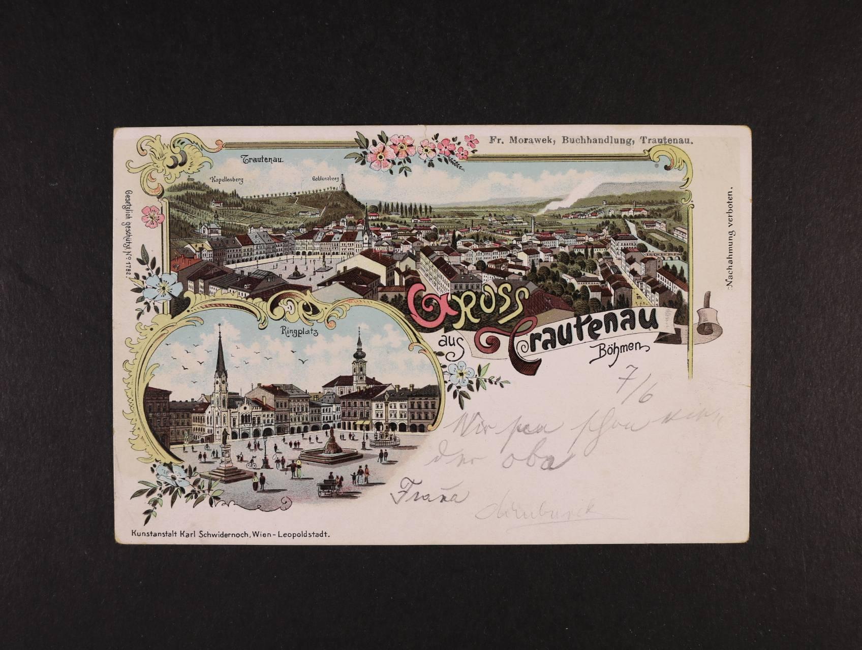 Trutnov - Trautenau - bar. litograf. koláž K. Schwidernoch, dl. adresa, použitá 1897