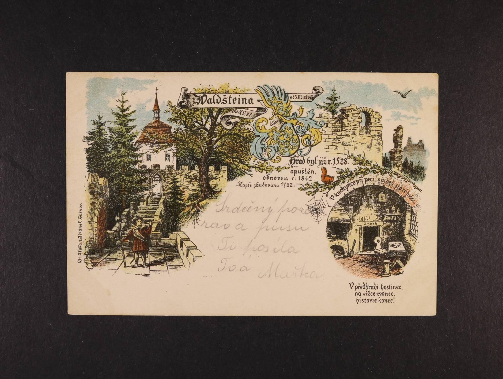Valdštein - bar. litograf. koláž, dl. adresa, použitá