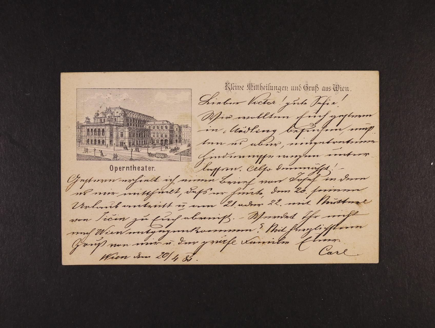 jednobar. pohlednice Operntheater, dl. adresa, použitá 1898, velmi dobrá kvalita