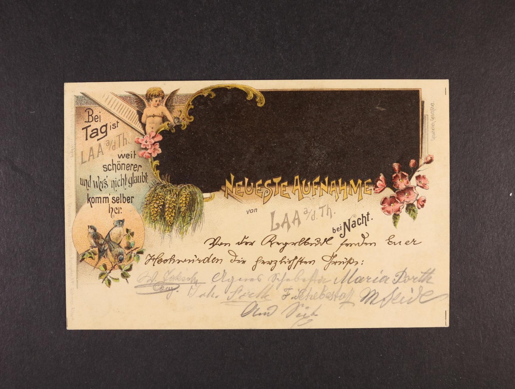 Laa a. d. Thaya v noci - bar. litograf. koláž, dl. adresa, použitá 1898, dobrá kvalita
