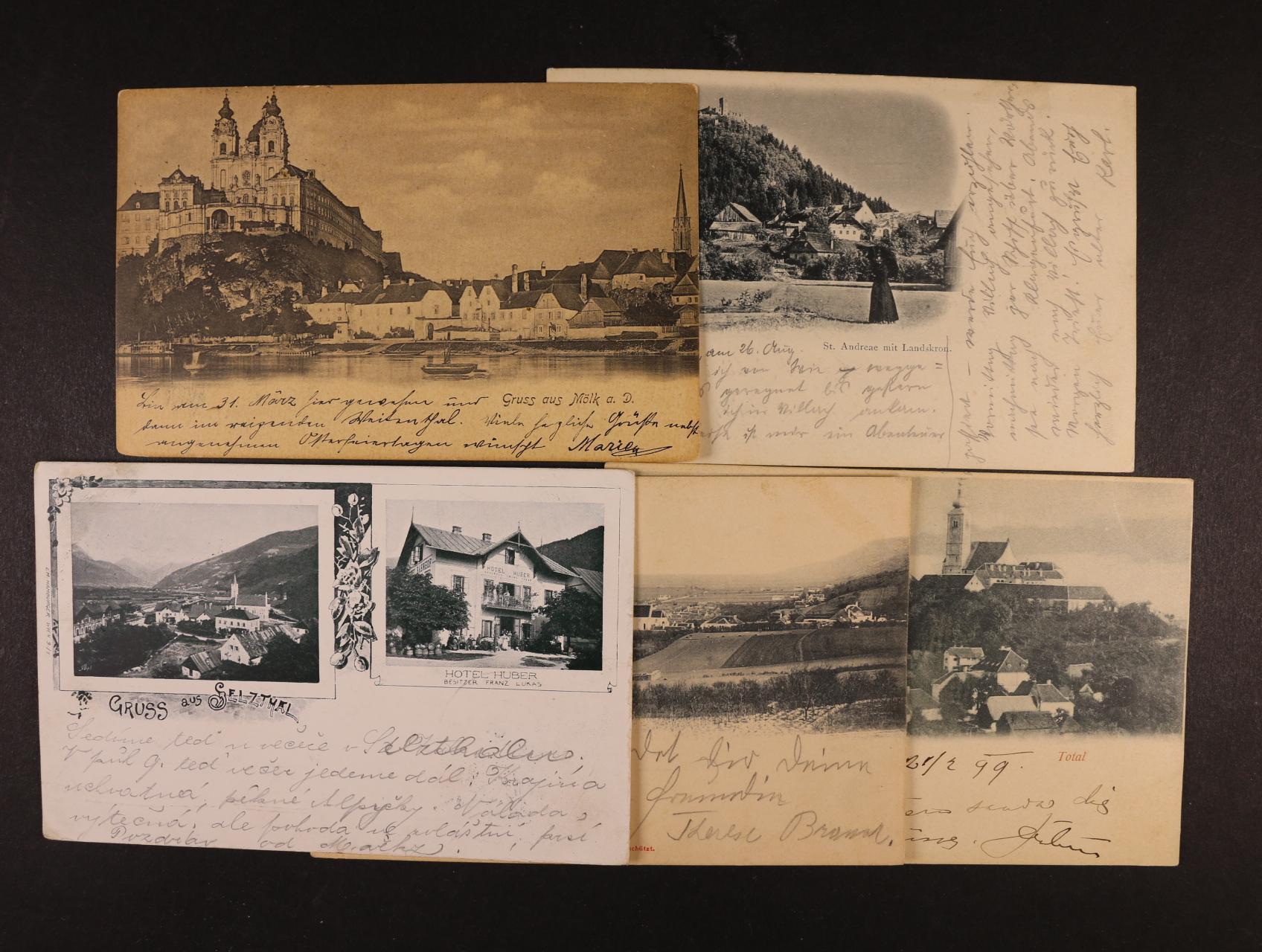 sestava 5 ks jednobar. pohlednic - Selzthal, Königstetten, Straden, Mölk a. D, Villach, dl. adresy, použité 1899 - 1906