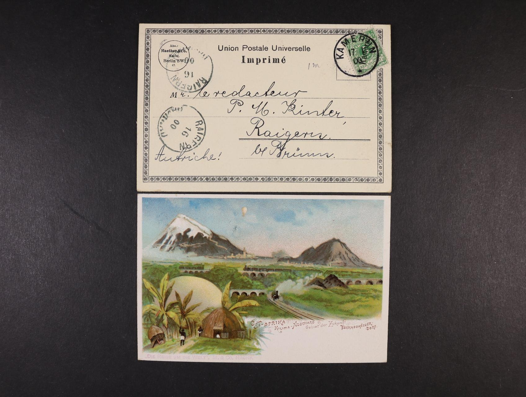 Německé kolonie Ostafrika a Kamerun - dvě bar. litografie, dl. adresy, použité 1900, dobrá kvalita